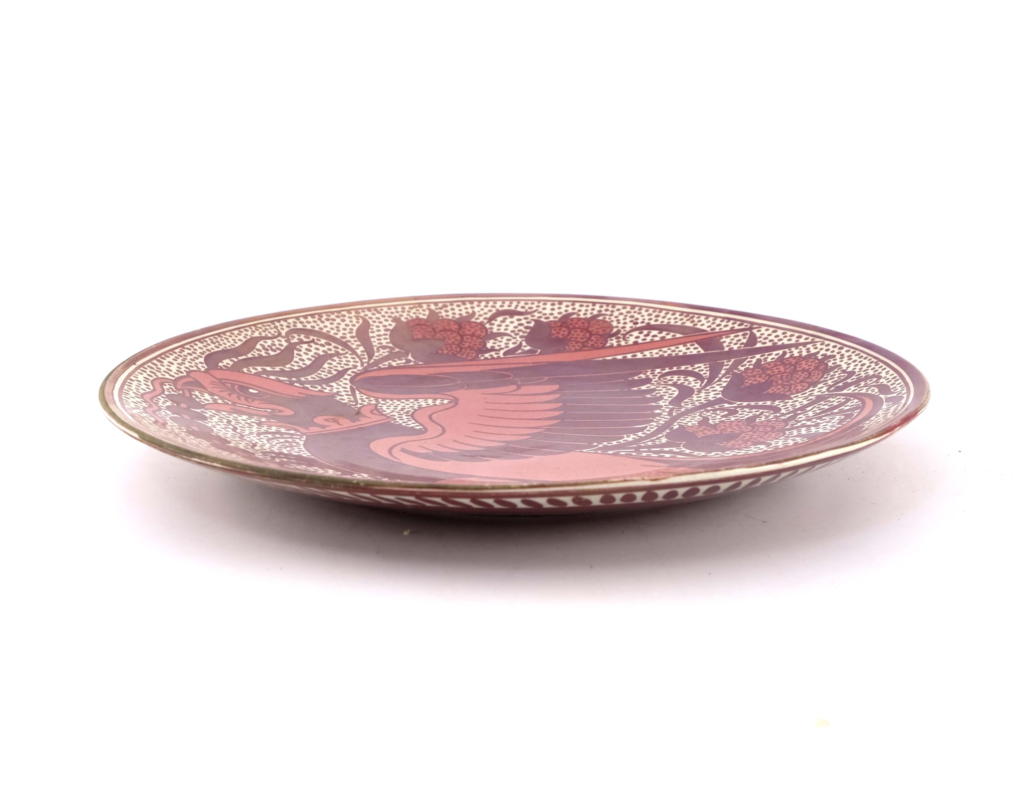 William De Morgan, a lustre plate - Image 2 of 3