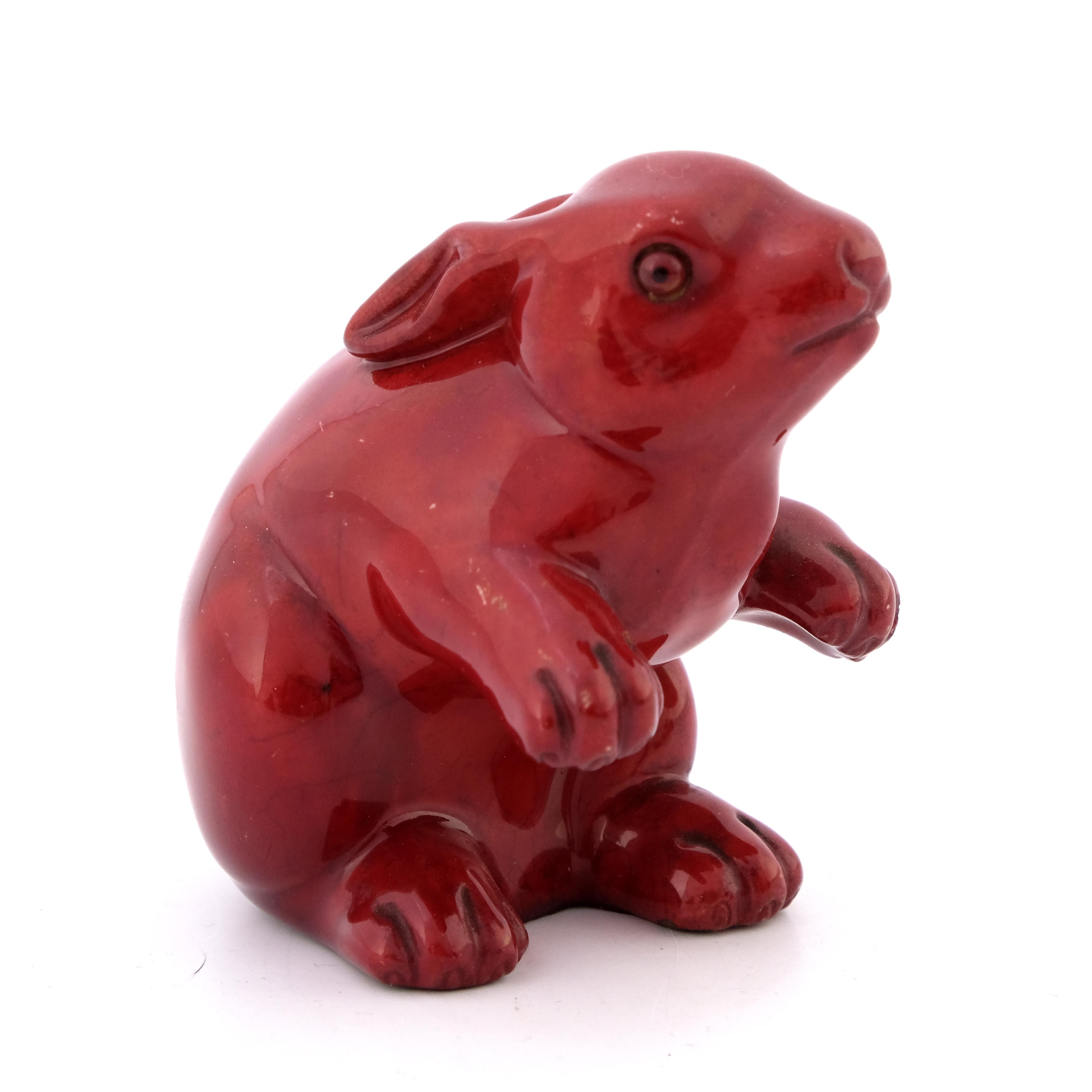 Bernard Moore, a flambe figure of a rabbit