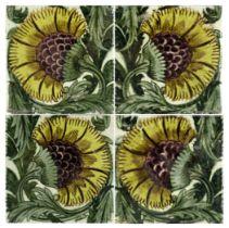 William De Morgan, four BBB tiles