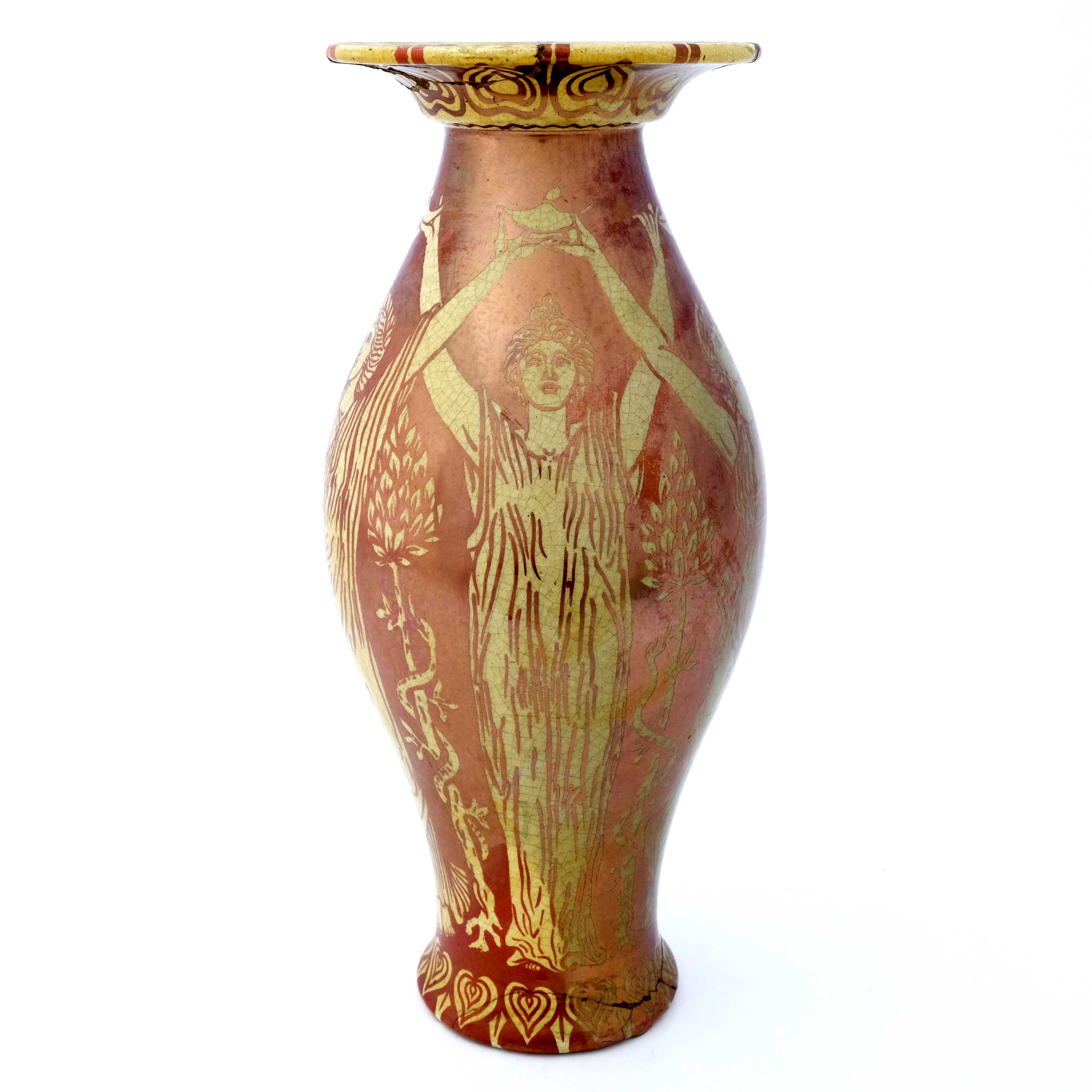 Walter Crane for Maw and Co., a red lustre vase, c - Image 3 of 5