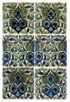 William De Morgan, a Persian foliate six tile pane