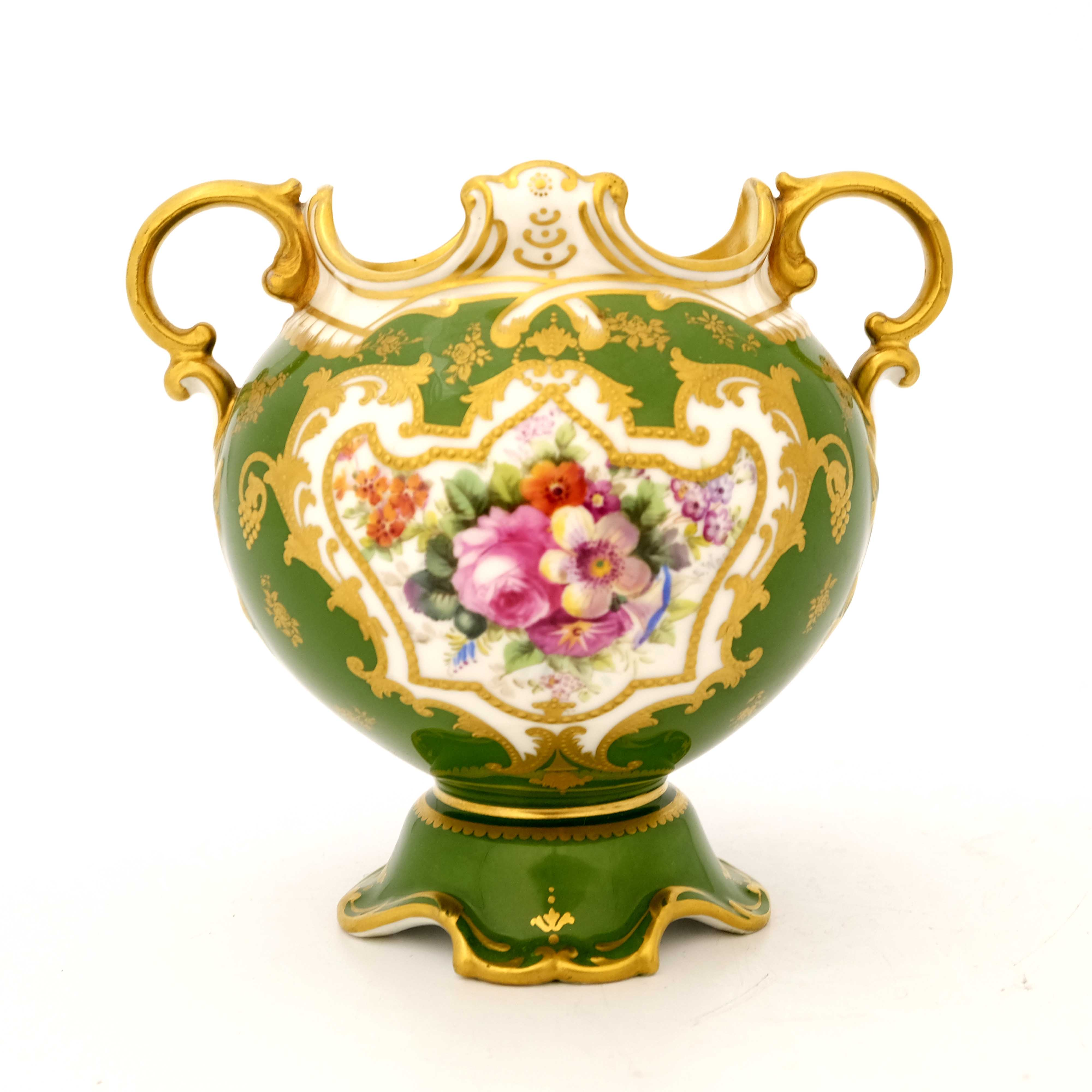 Edwin Wood for Royal Doulton, a floral painted twin handled vase
