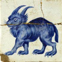 William De Morgan, a blue and white Lynx tile
