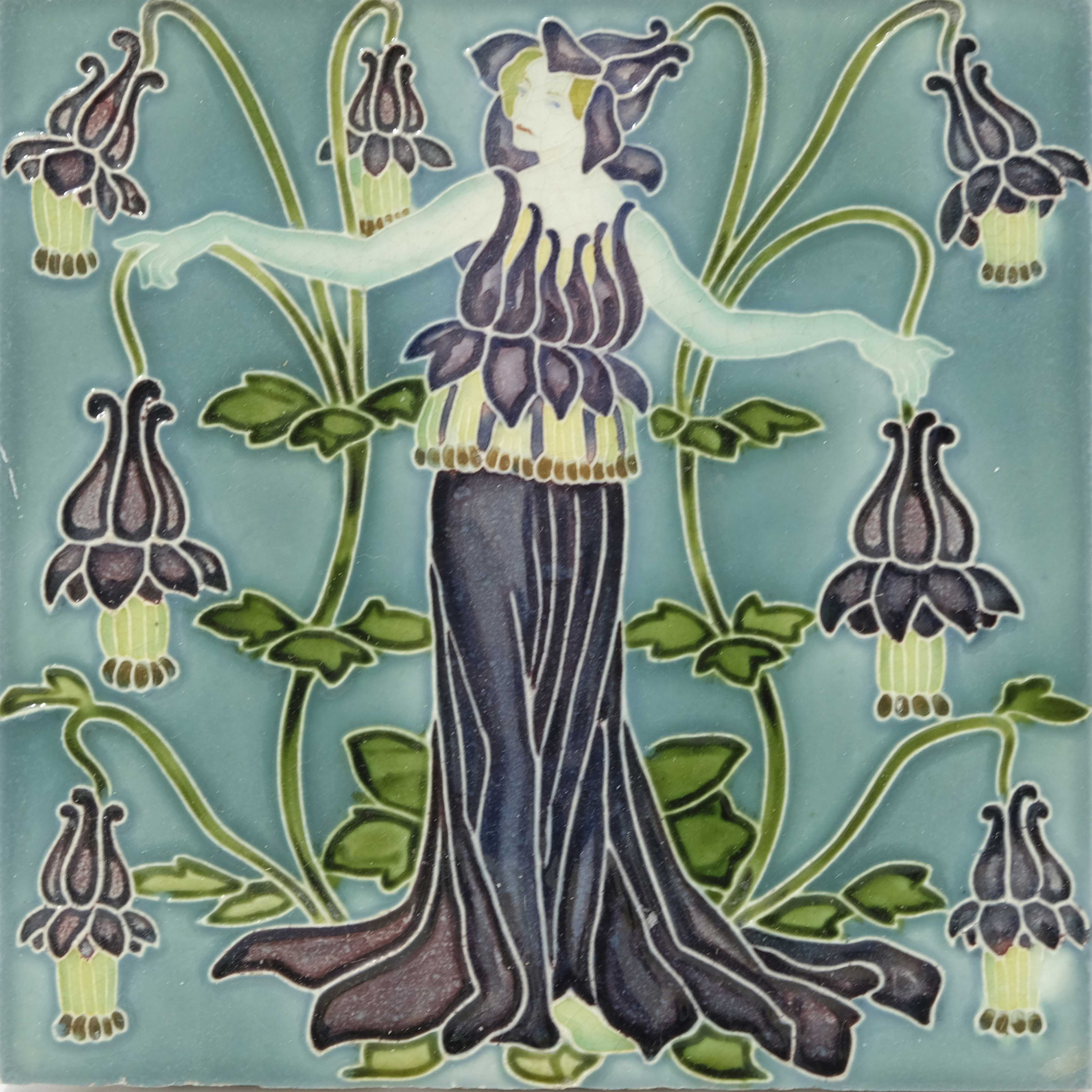 Walter Crane for Pilkington, a set of five Flora's