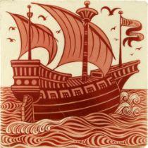William De Morgan, a lustre galleon tile