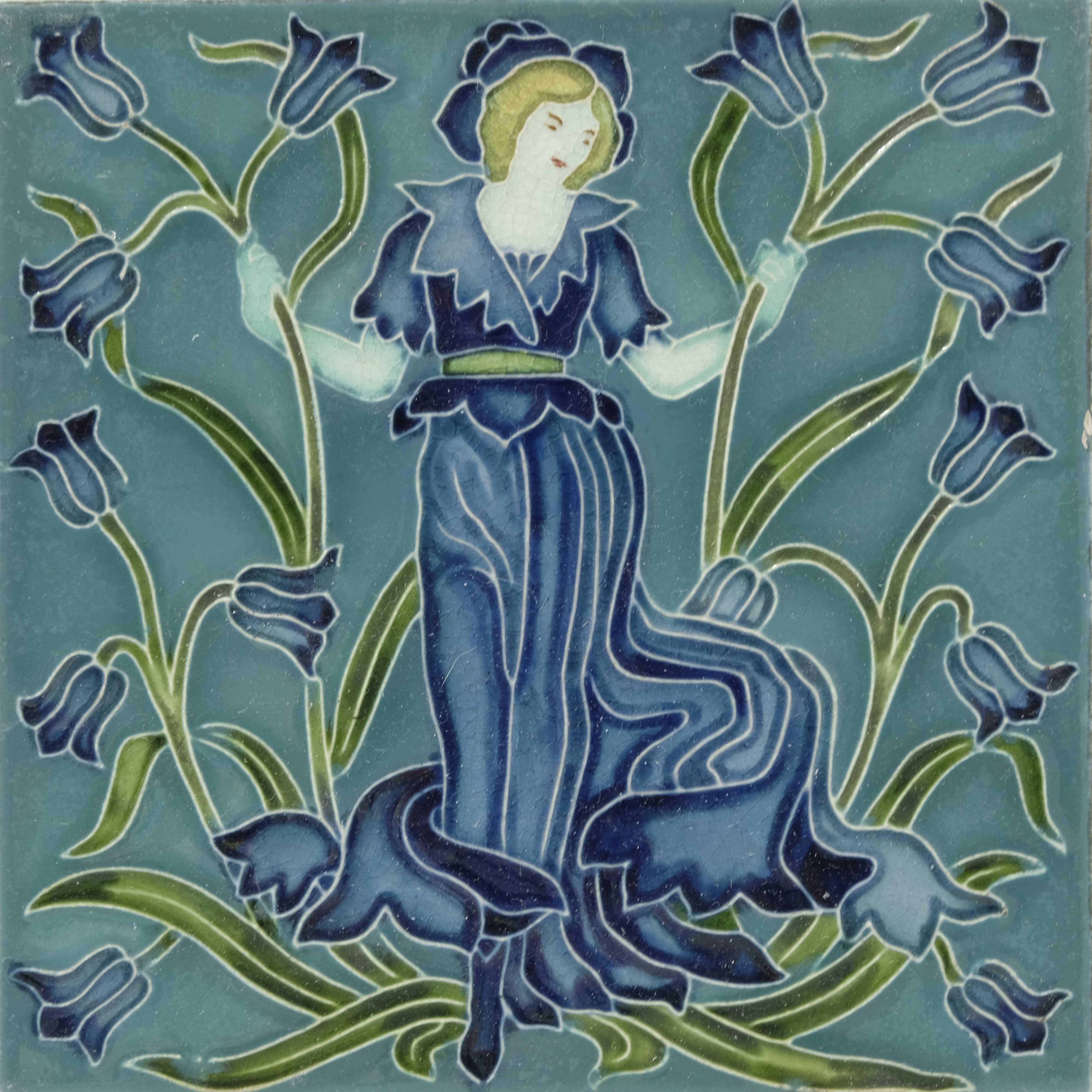 Walter Crane for Pilkington, a set of five Flora's - Image 3 of 6