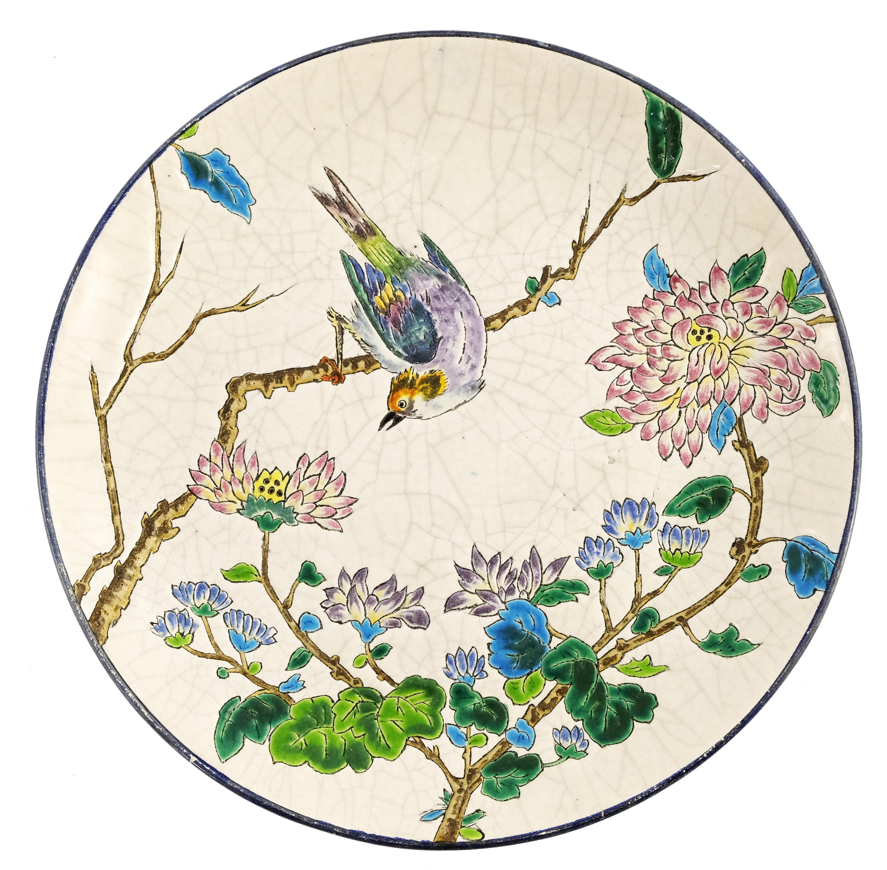 Longwy, an art pottery cloisonne plate