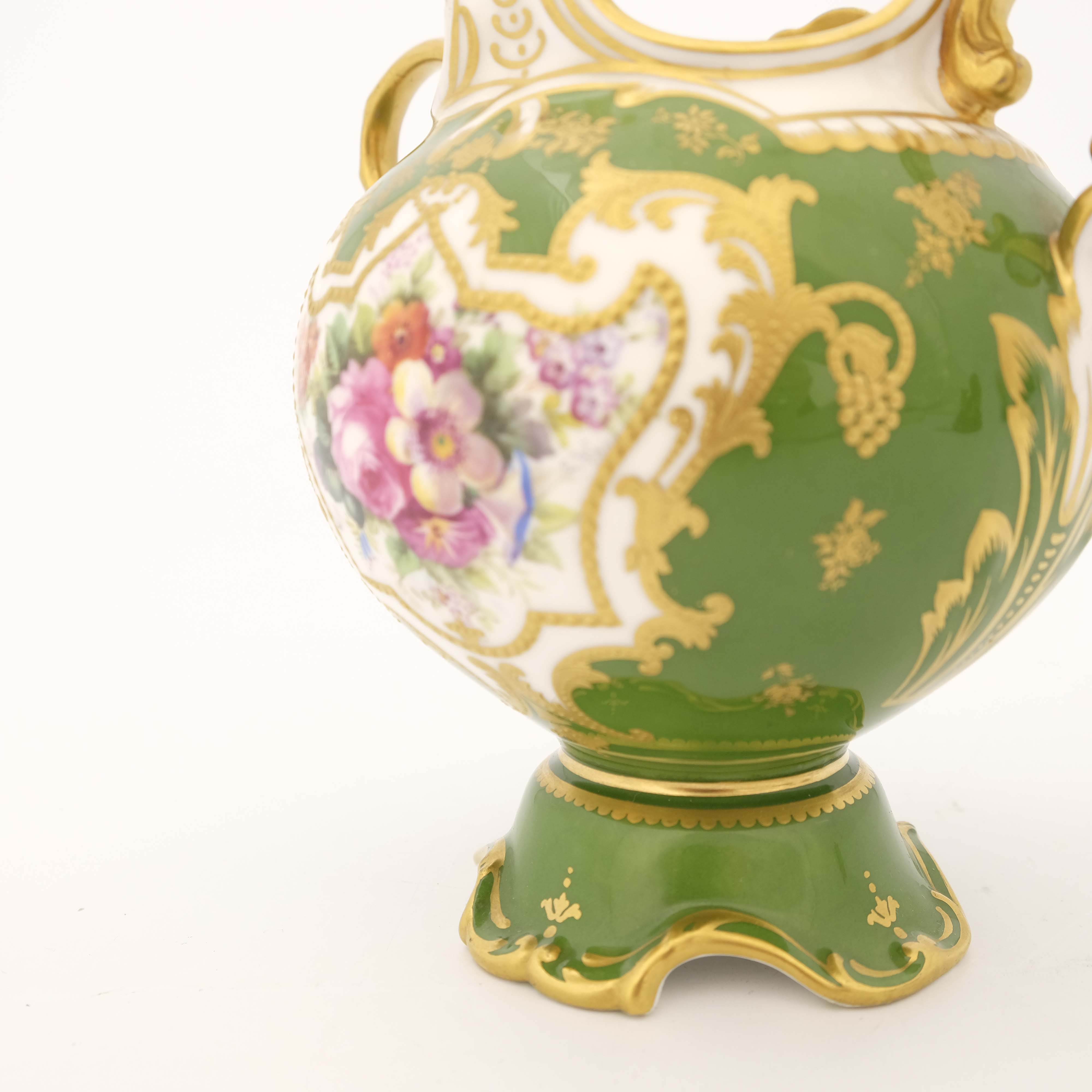 Edwin Wood for Royal Doulton, a floral painted twin handled vase - Image 7 of 7