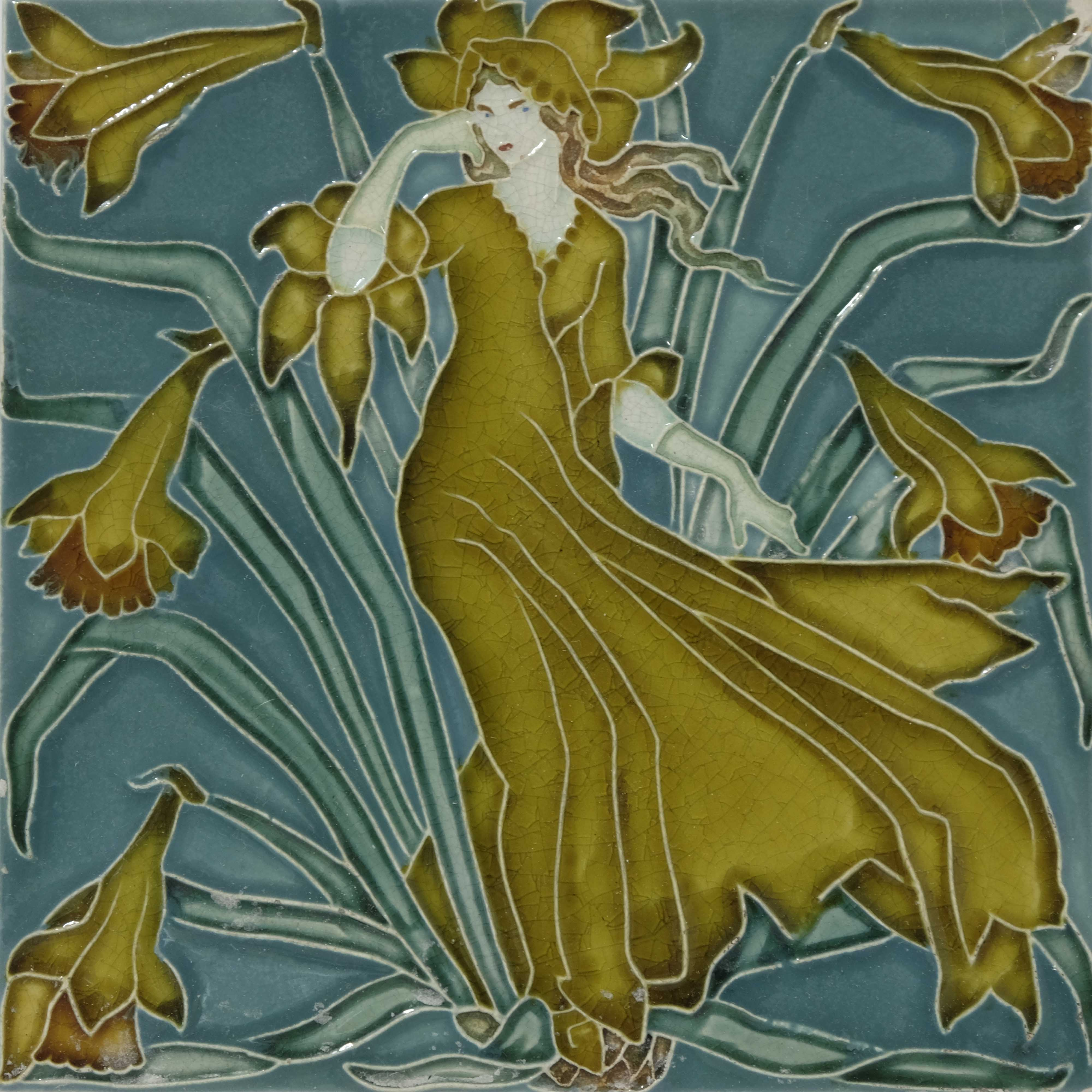 Walter Crane for Pilkington, a set of five Flora's - Image 5 of 6