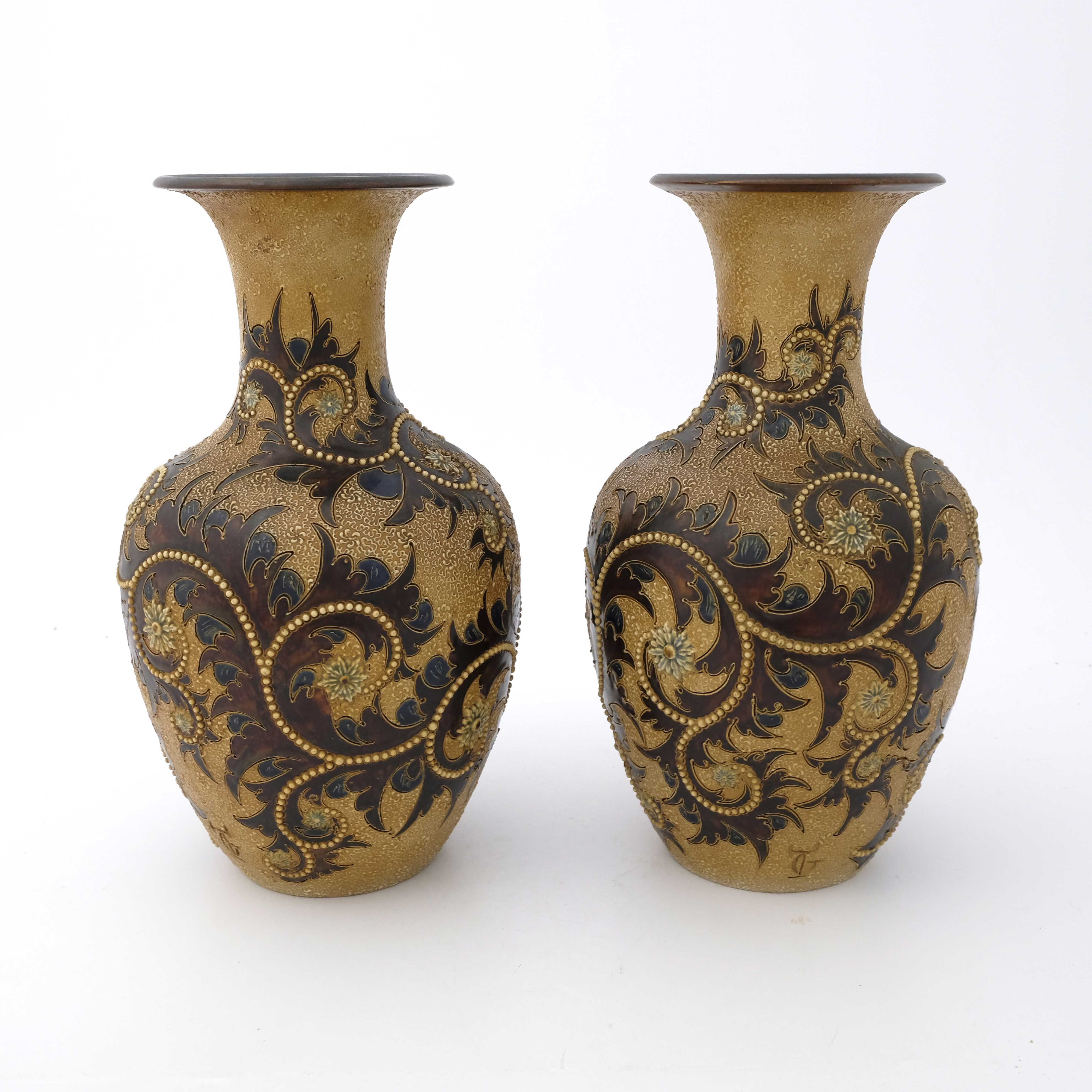 George Tinworth for Doulton Lambeth, a pair of sto