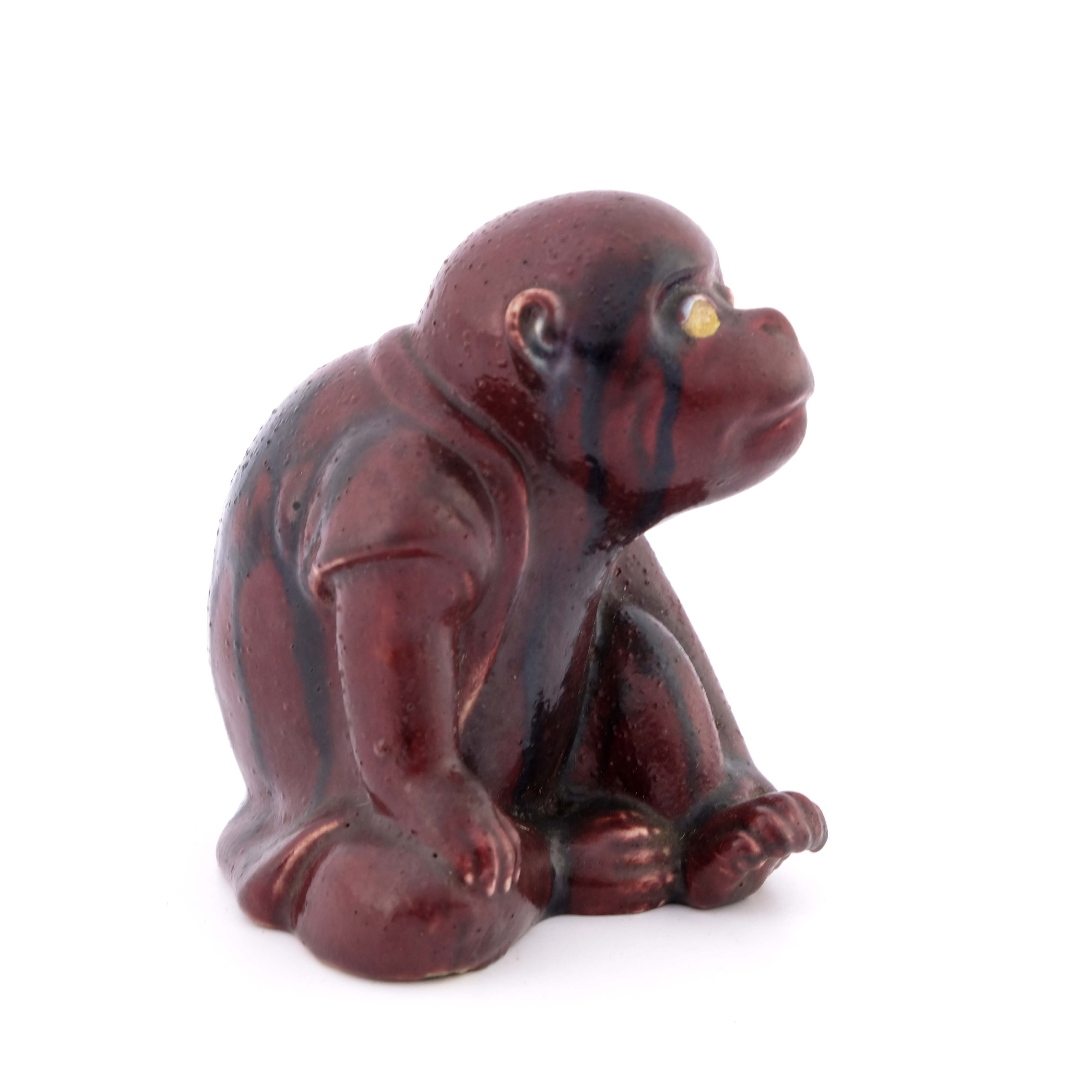 Bernard Moore, a flambe figure of a monkey - Image 2 of 4