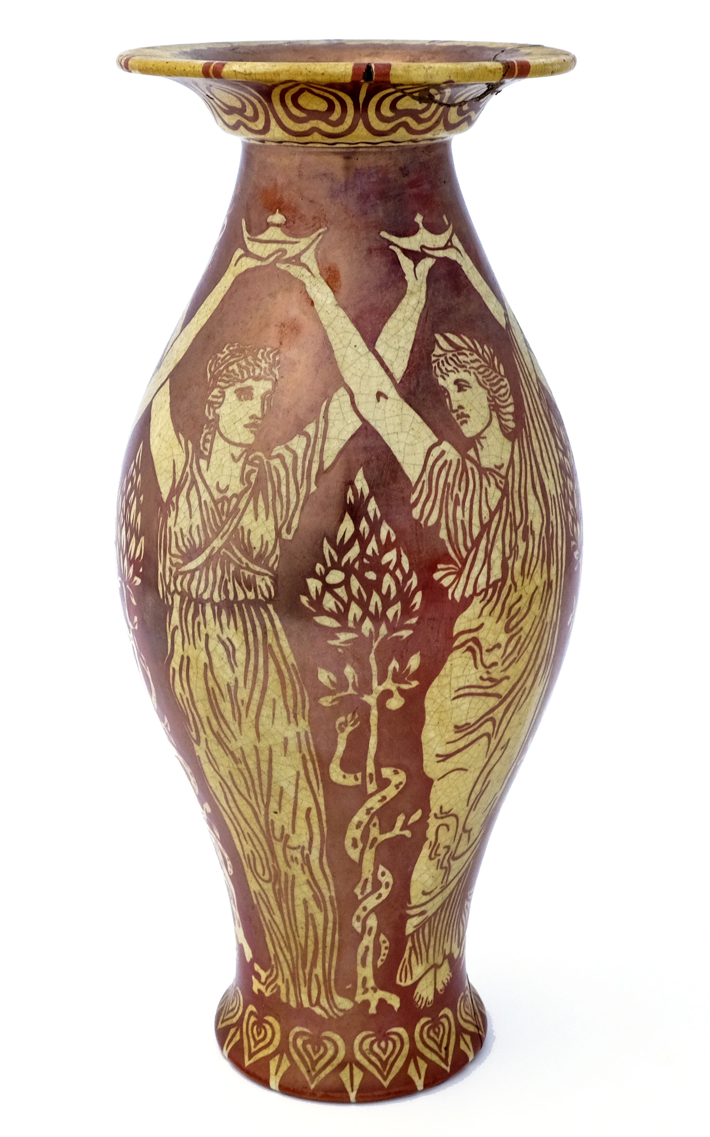 Walter Crane for Maw and Co., a red lustre vase, c