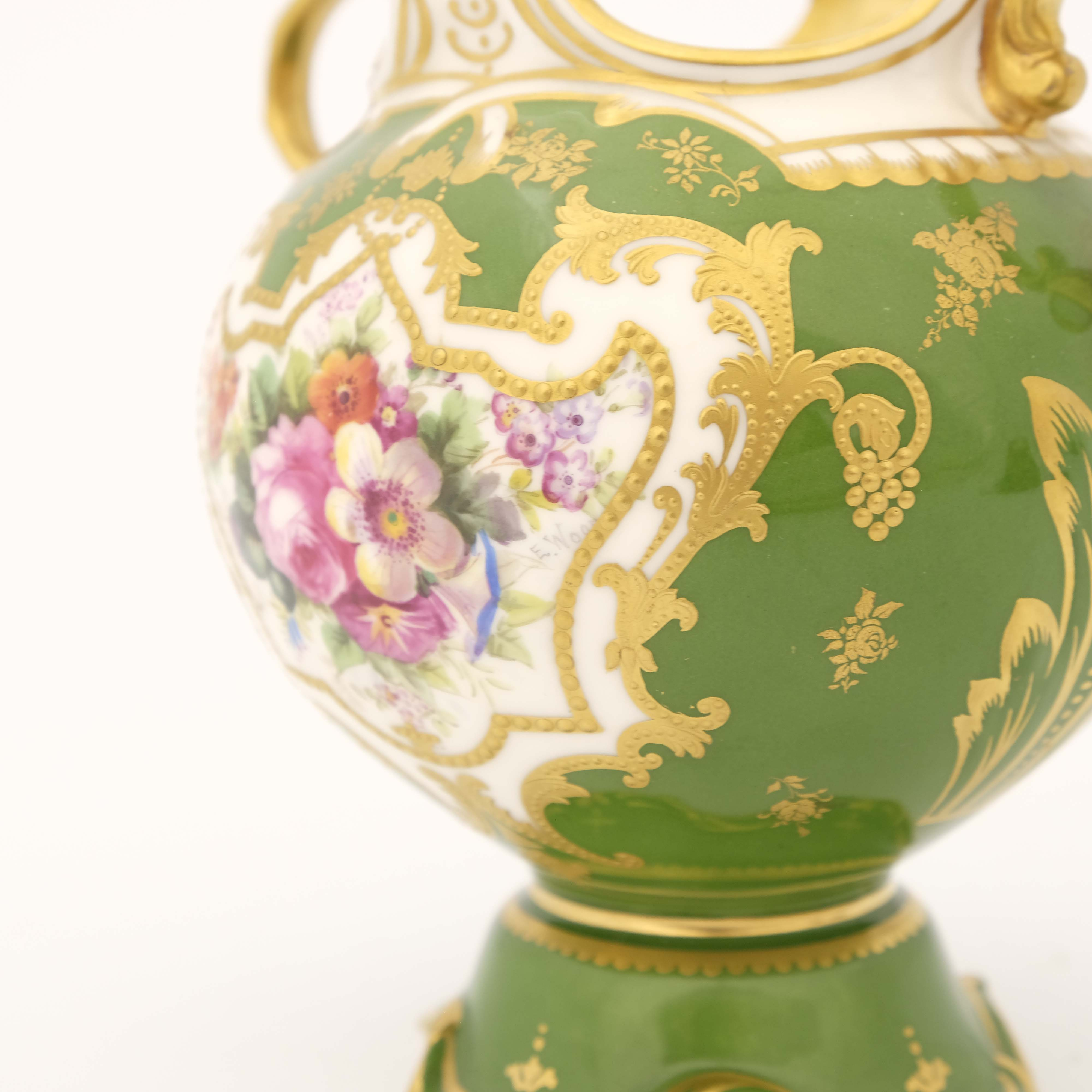 Edwin Wood for Royal Doulton, a floral painted twin handled vase - Image 6 of 7