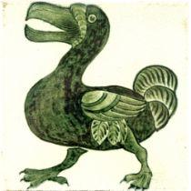 William De Morgan, a green and white Dodo tile