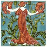 Walter Crane for Pilkington, a Flora's Train poppy tile