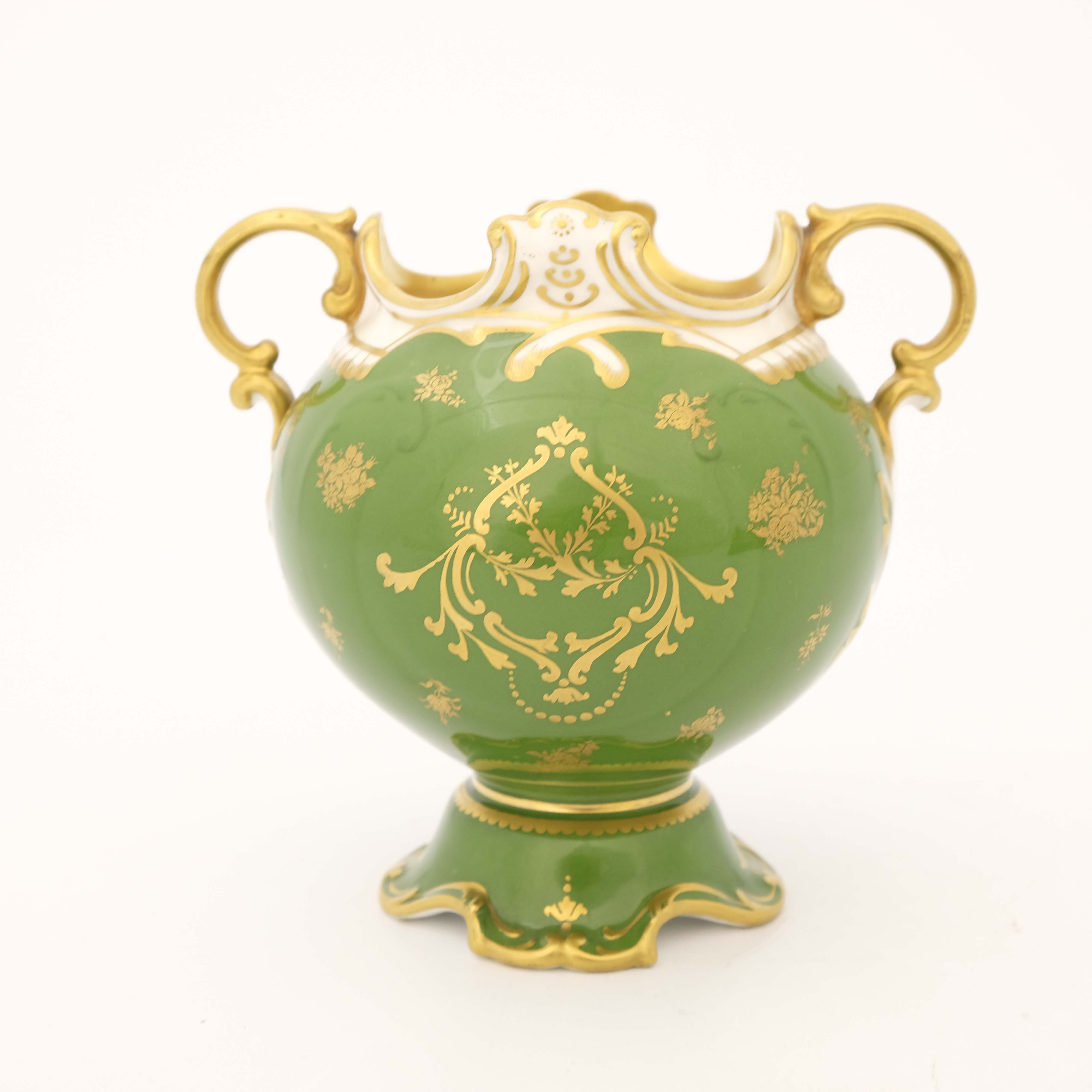 Edwin Wood for Royal Doulton, a floral painted twin handled vase - Image 3 of 7
