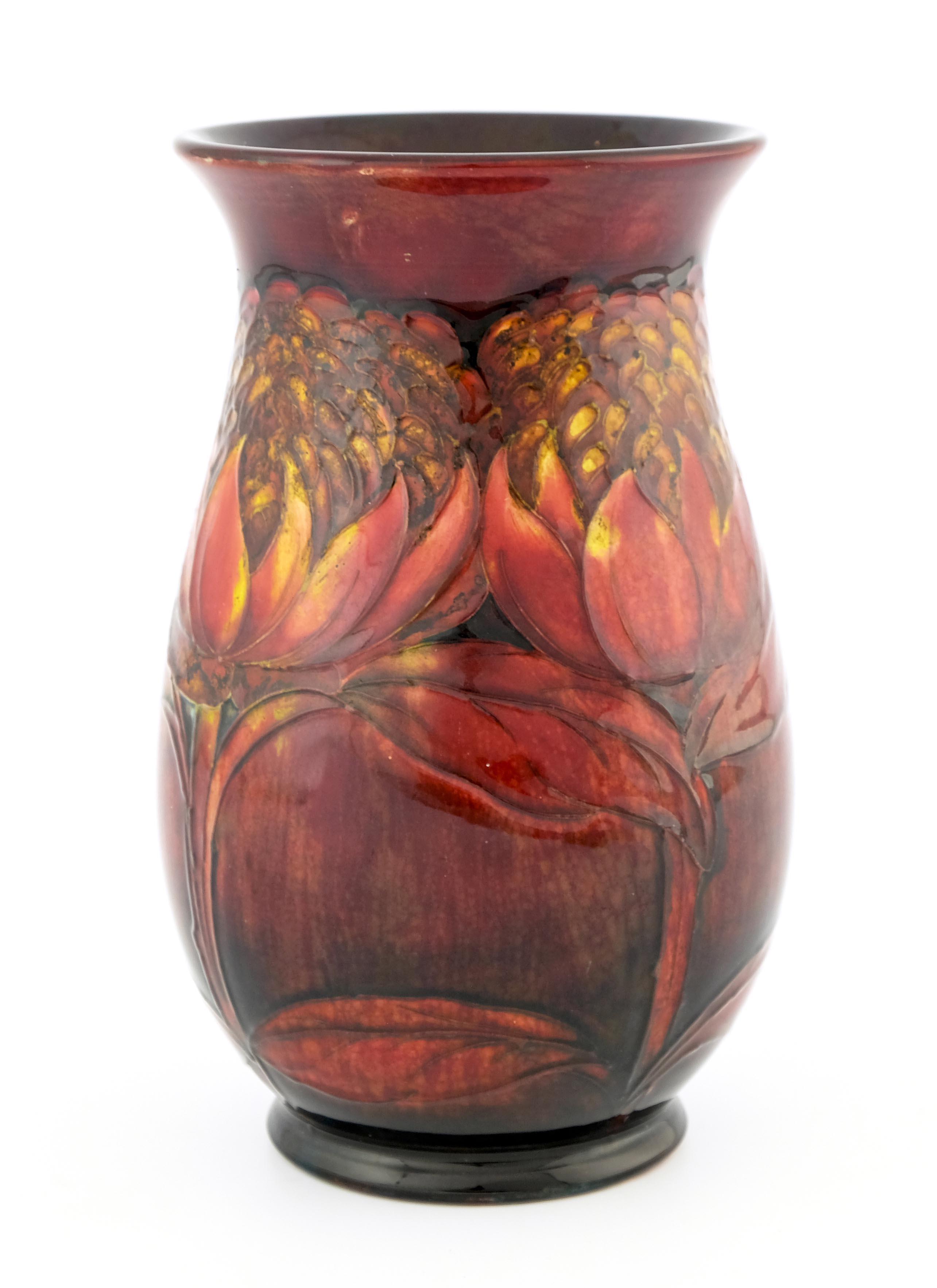 William Moorcroft, a Flambe Waratah vase
