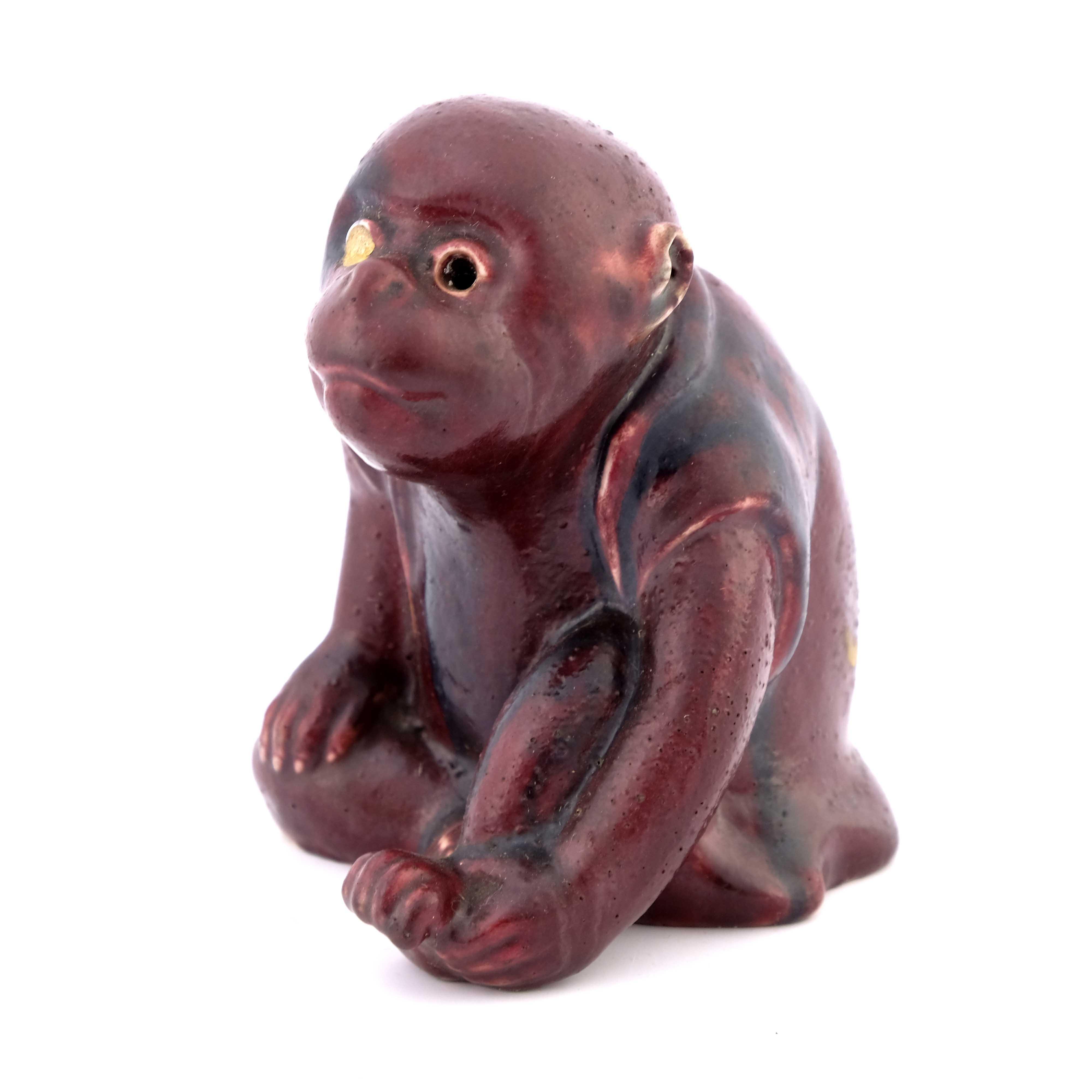 Bernard Moore, a flambe figure of a monkey