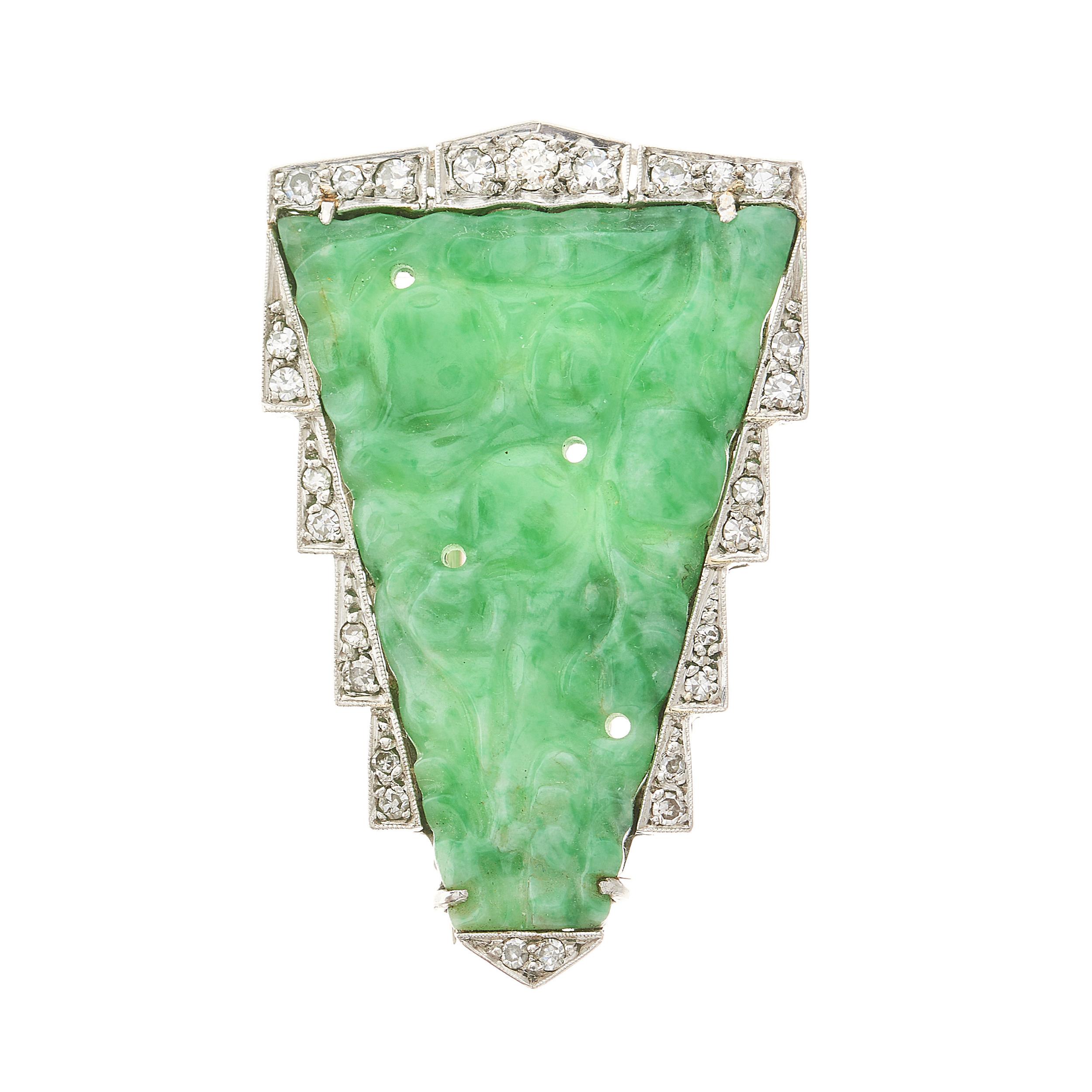 An Art Deco natural jadeite jade and diamond brooch