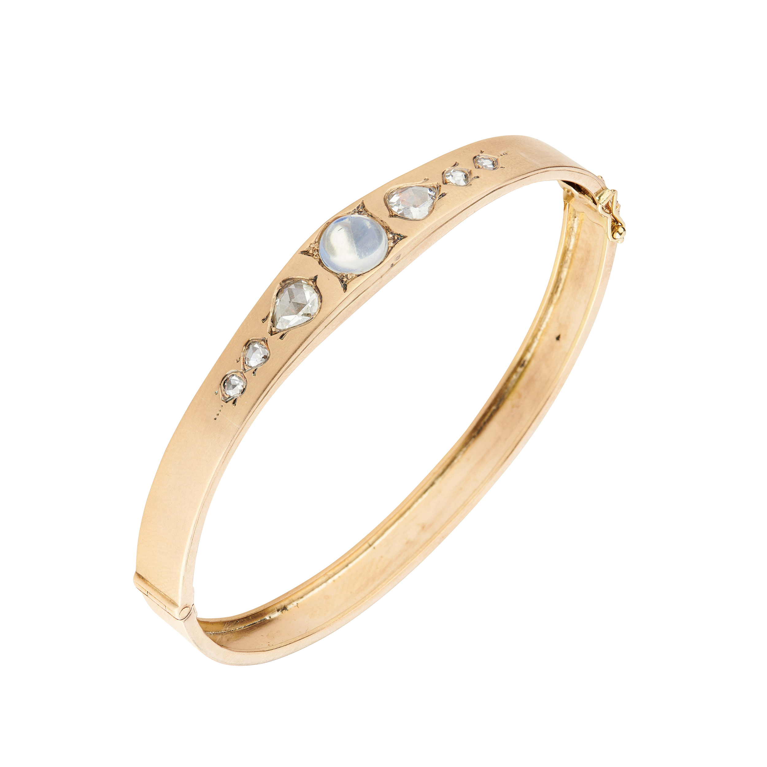 A late 19th century 14ct gold moonstone and diamond hinged bangle