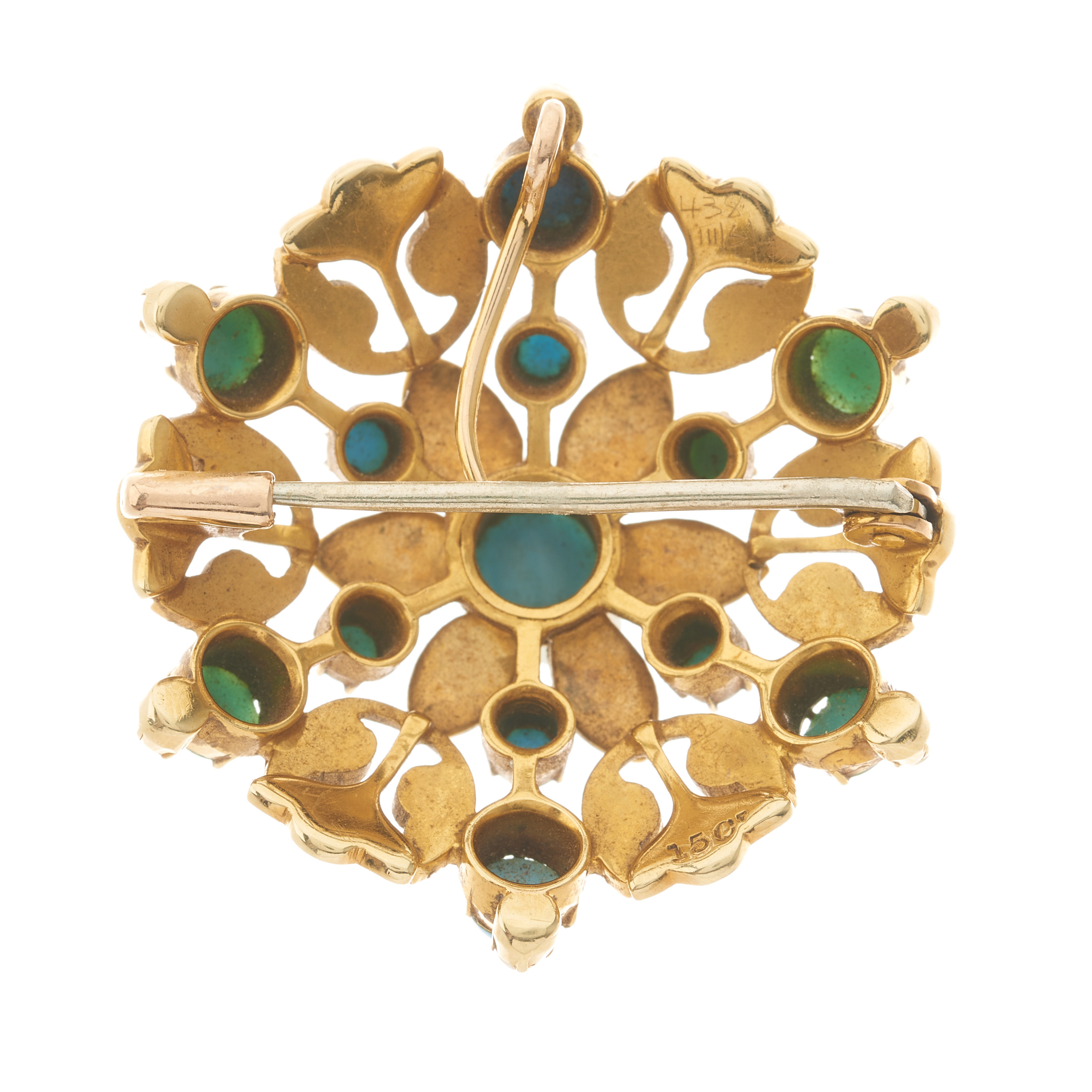 A late Victorian 15ct gold turquoise and split pearl floral openwork pendant / brooch - Image 2 of 2