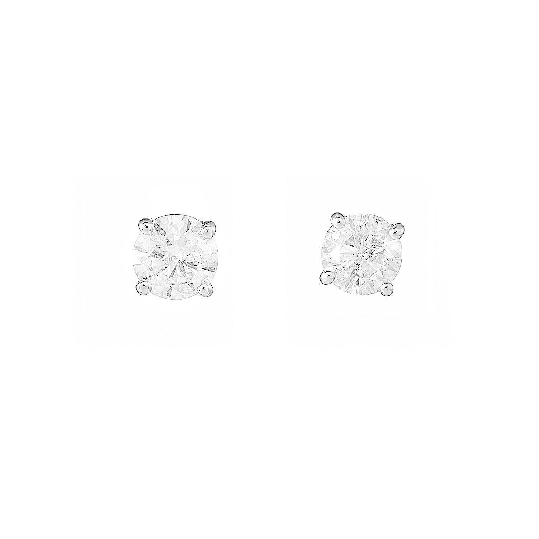 A pair of 18ct gold brilliant-cut diamond single-stone stud earrings