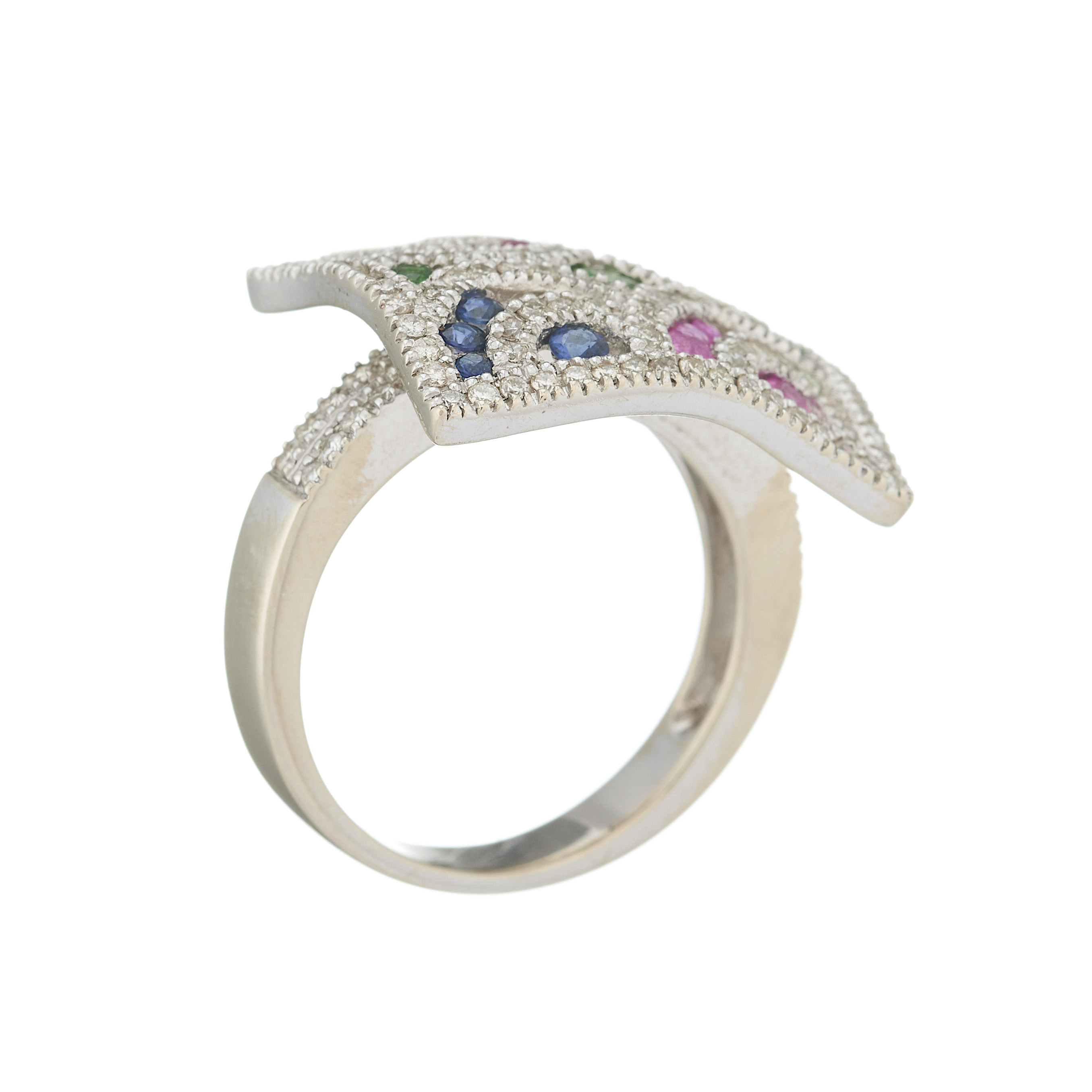 A 14ct gold diamond and multi-gem dress ring - Image 2 of 2