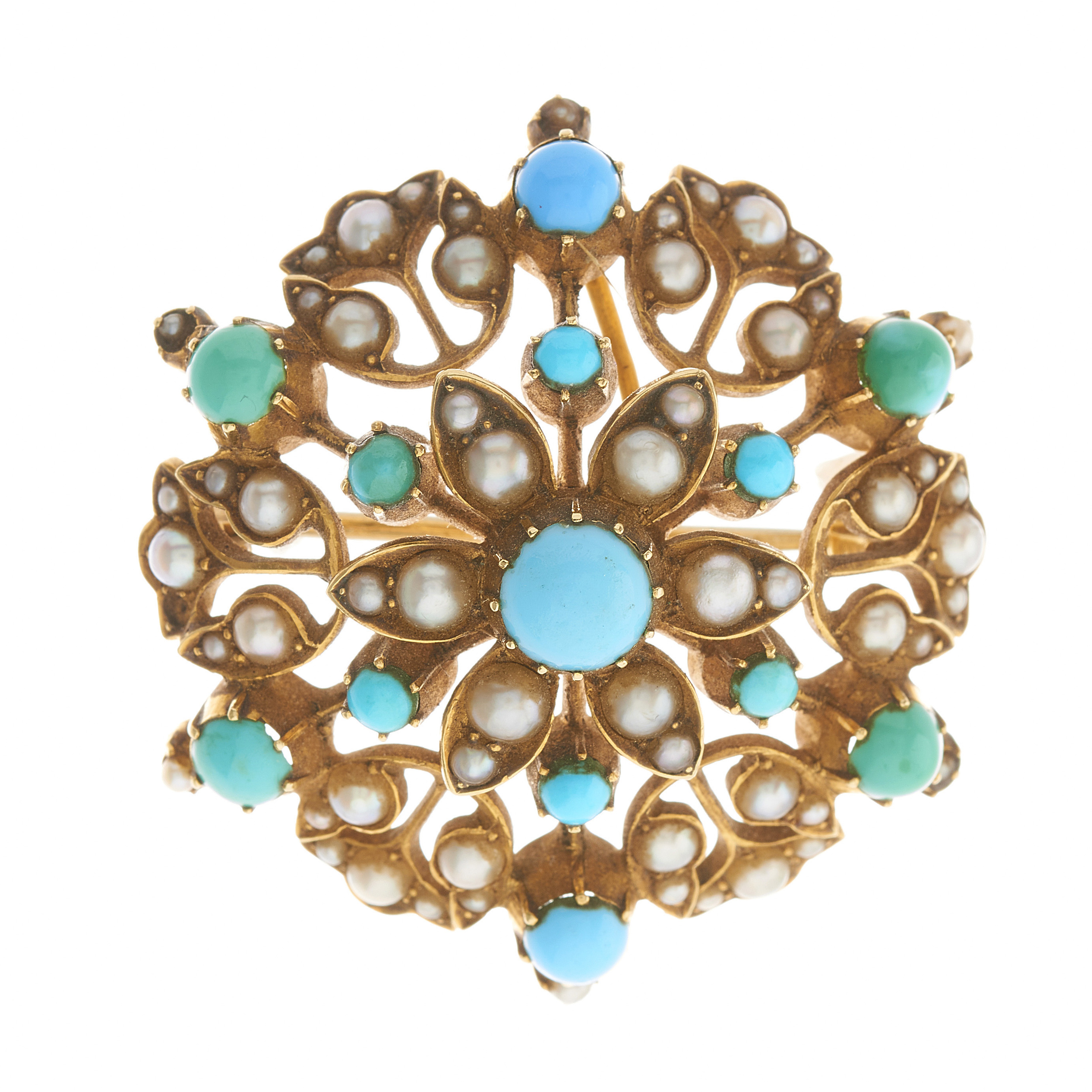 A late Victorian 15ct gold turquoise and split pearl floral openwork pendant / brooch