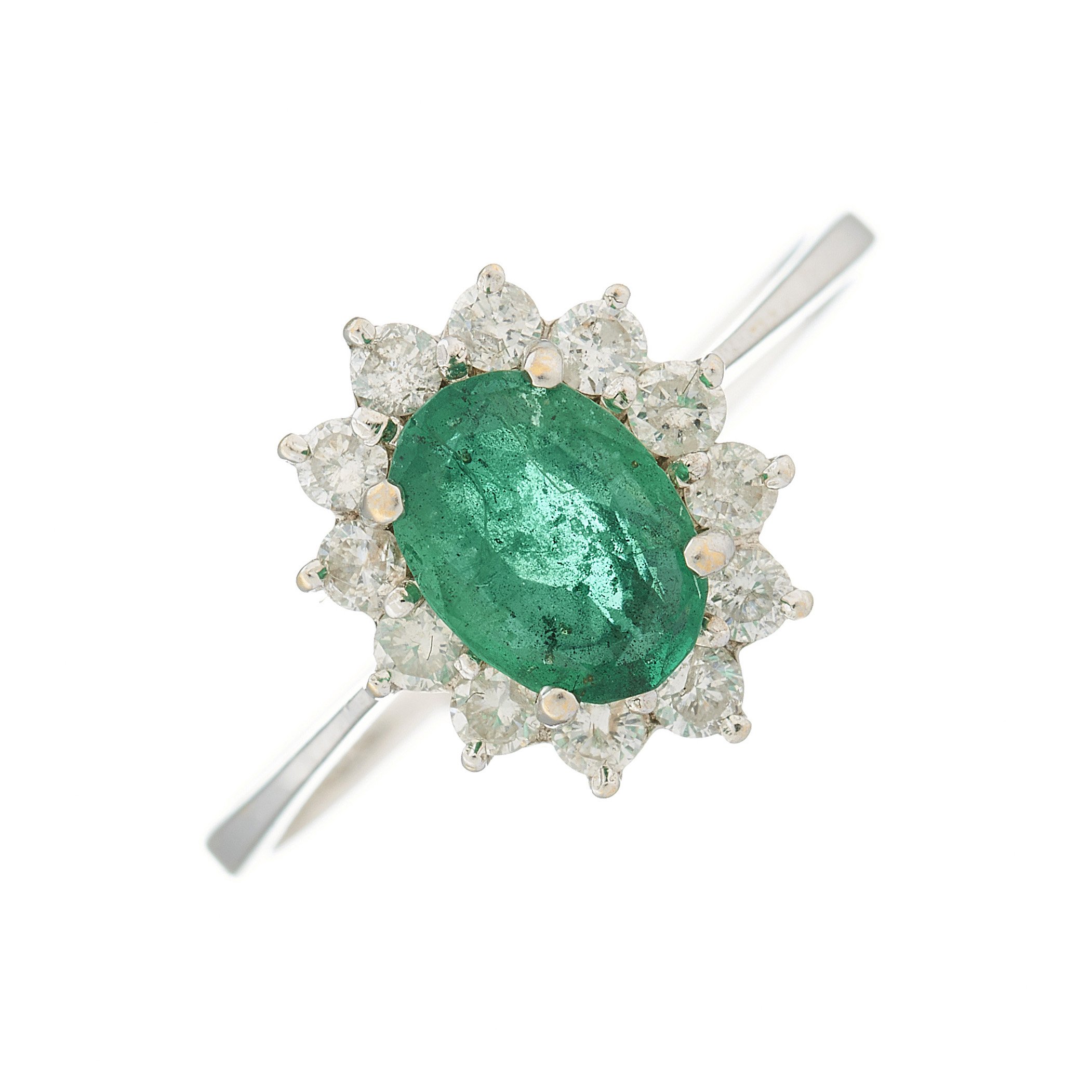 An 18ct gold emerald and diamond cluster ring
