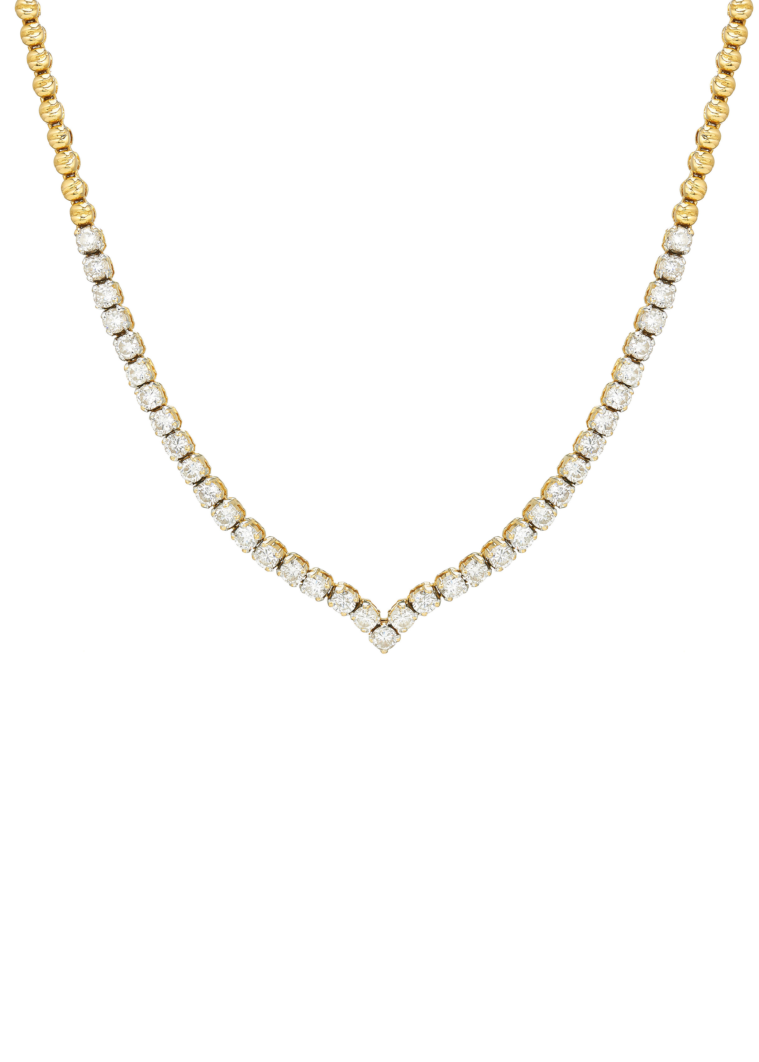 An 18ct gold diamond line necklace