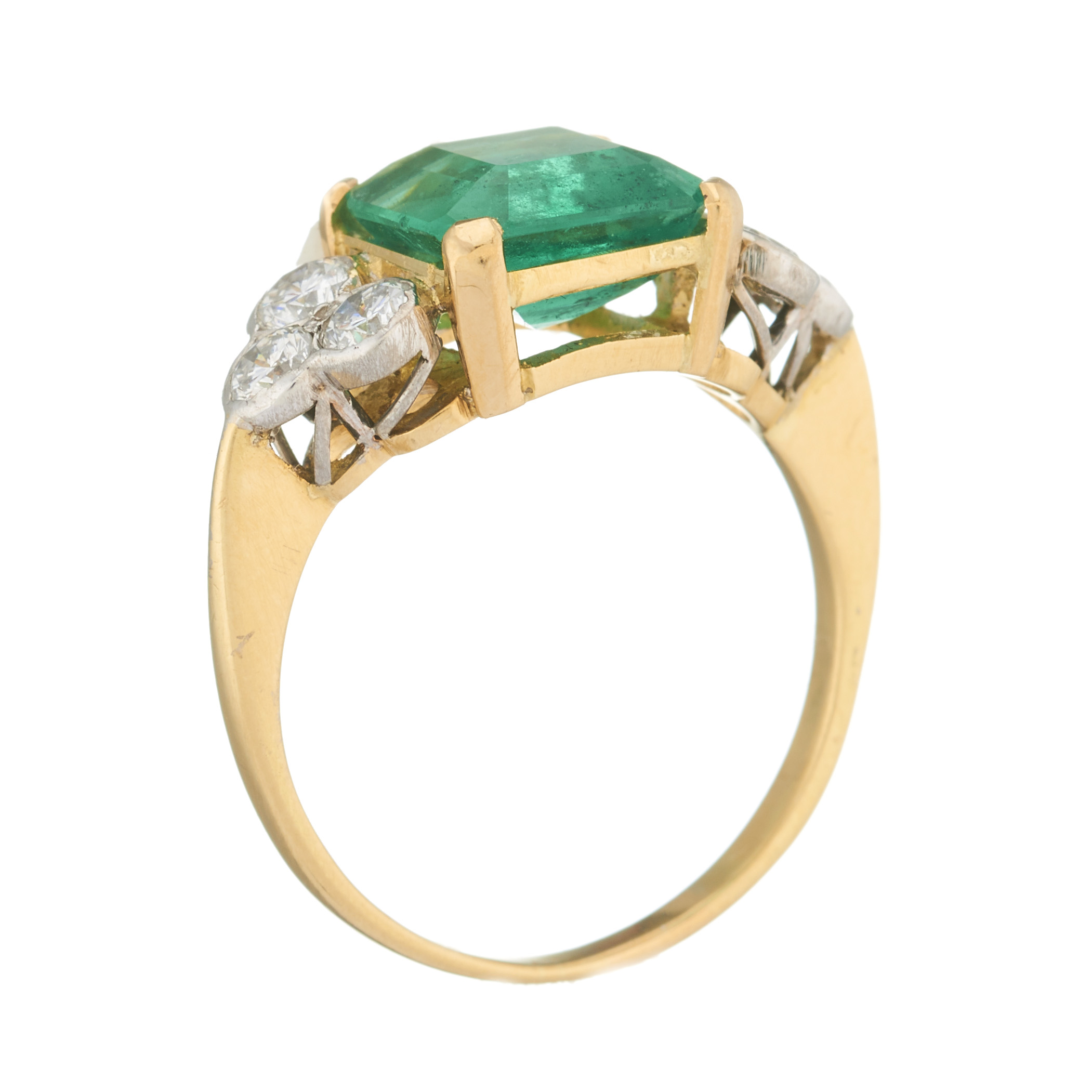 An 18ct gold emerald and diamond dress ring - Image 2 of 2