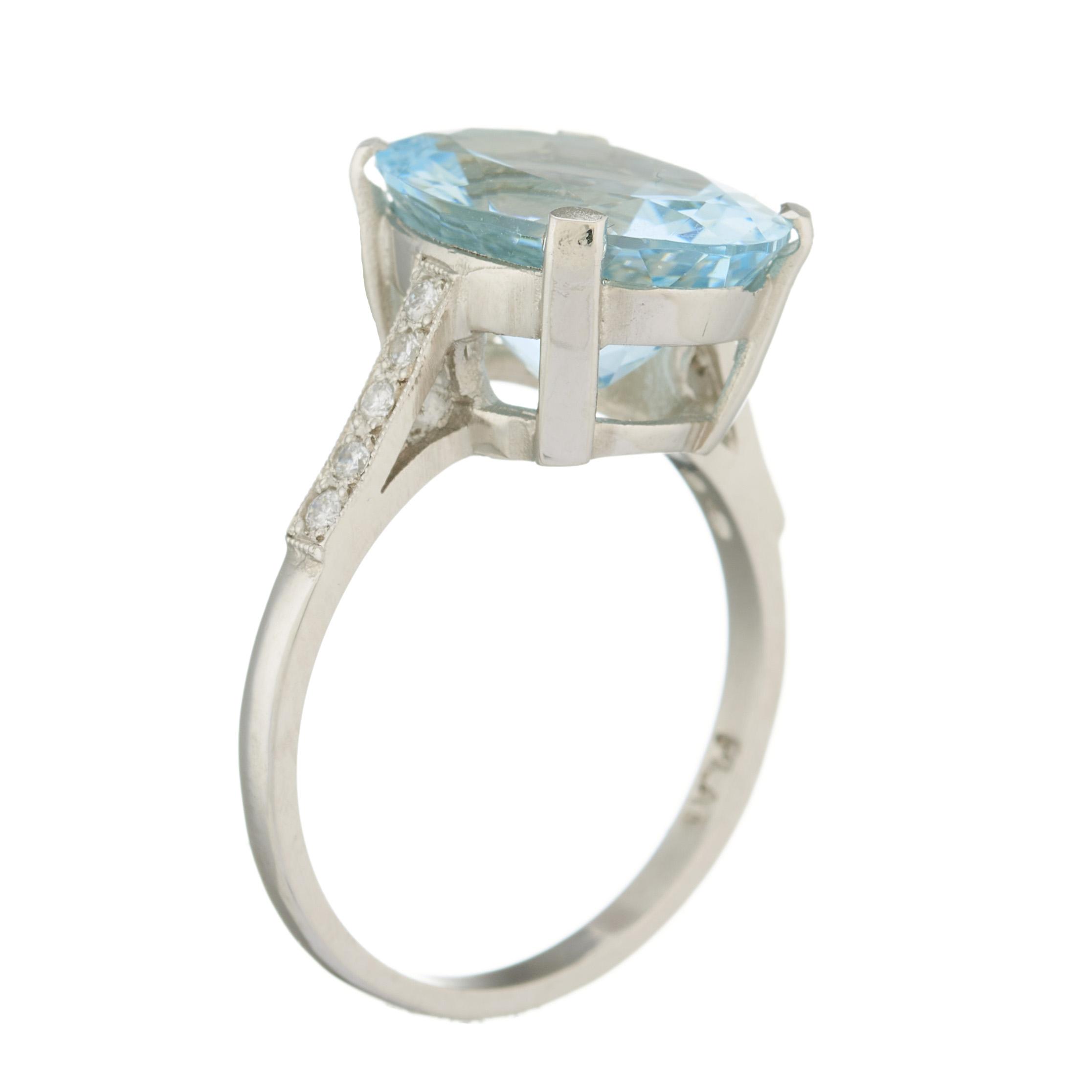 A platinum aquamarine single-stone and diamond dress ring - Image 2 of 2