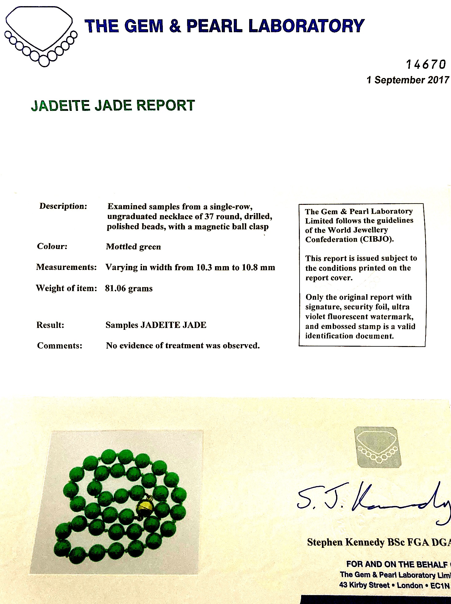 A natural jadeite jade bead necklace, with report - Image 3 of 3