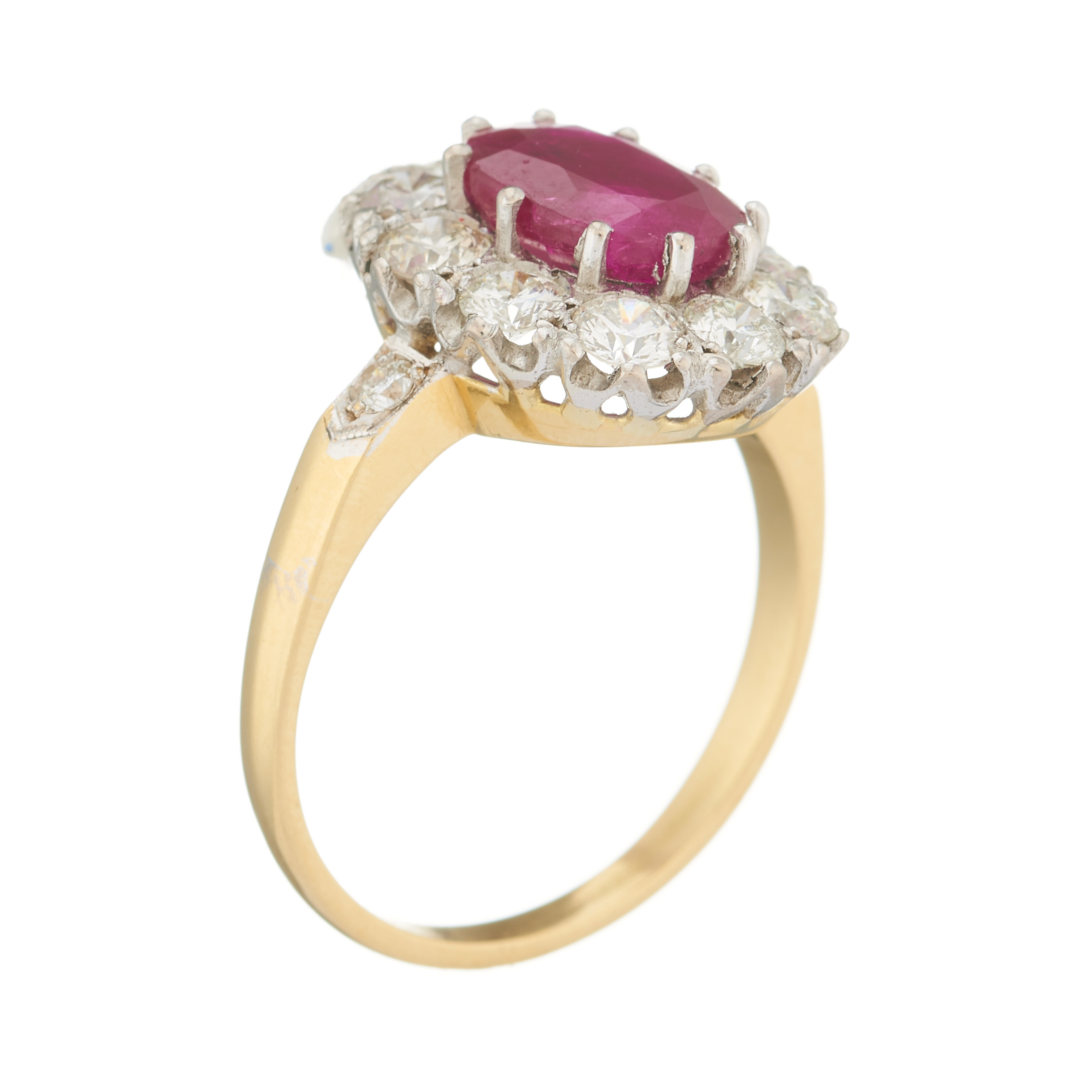 An 18ct gold ruby and diamond cluster ring - Image 2 of 2