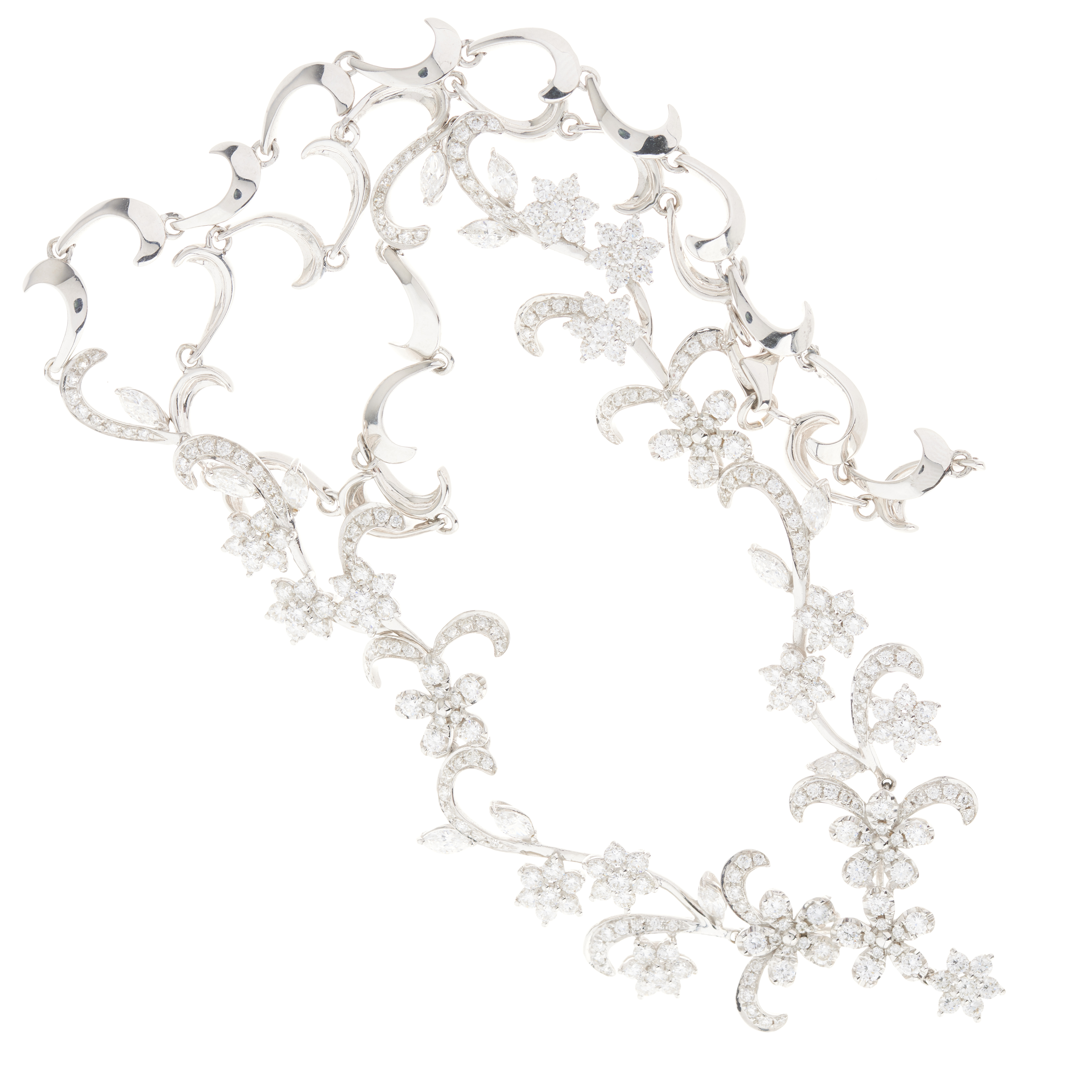 An 18ct gold diamond floral and foliate necklace - Image 3 of 3