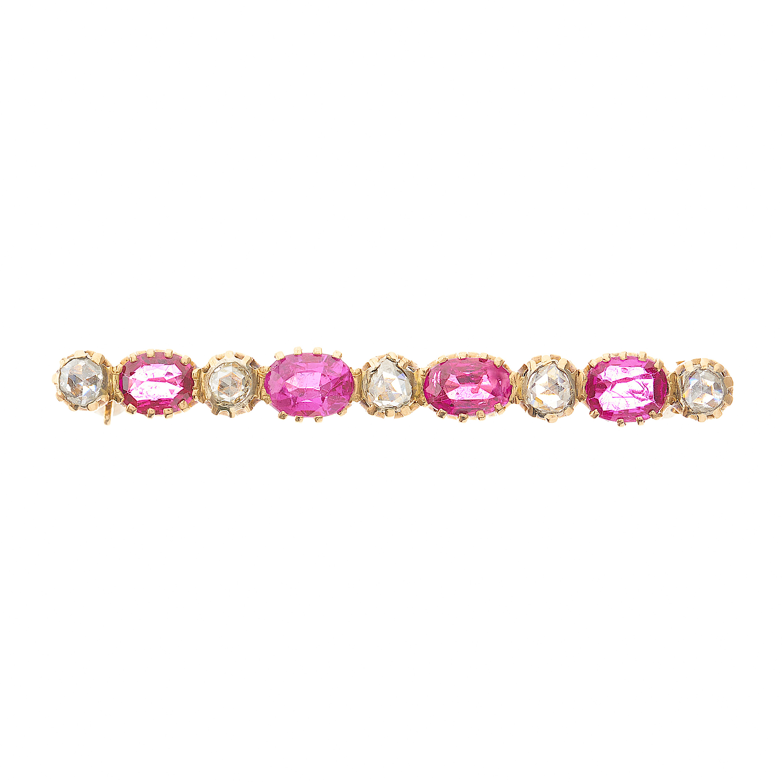 A late 19th century gold, ruby and diamond bar brooch