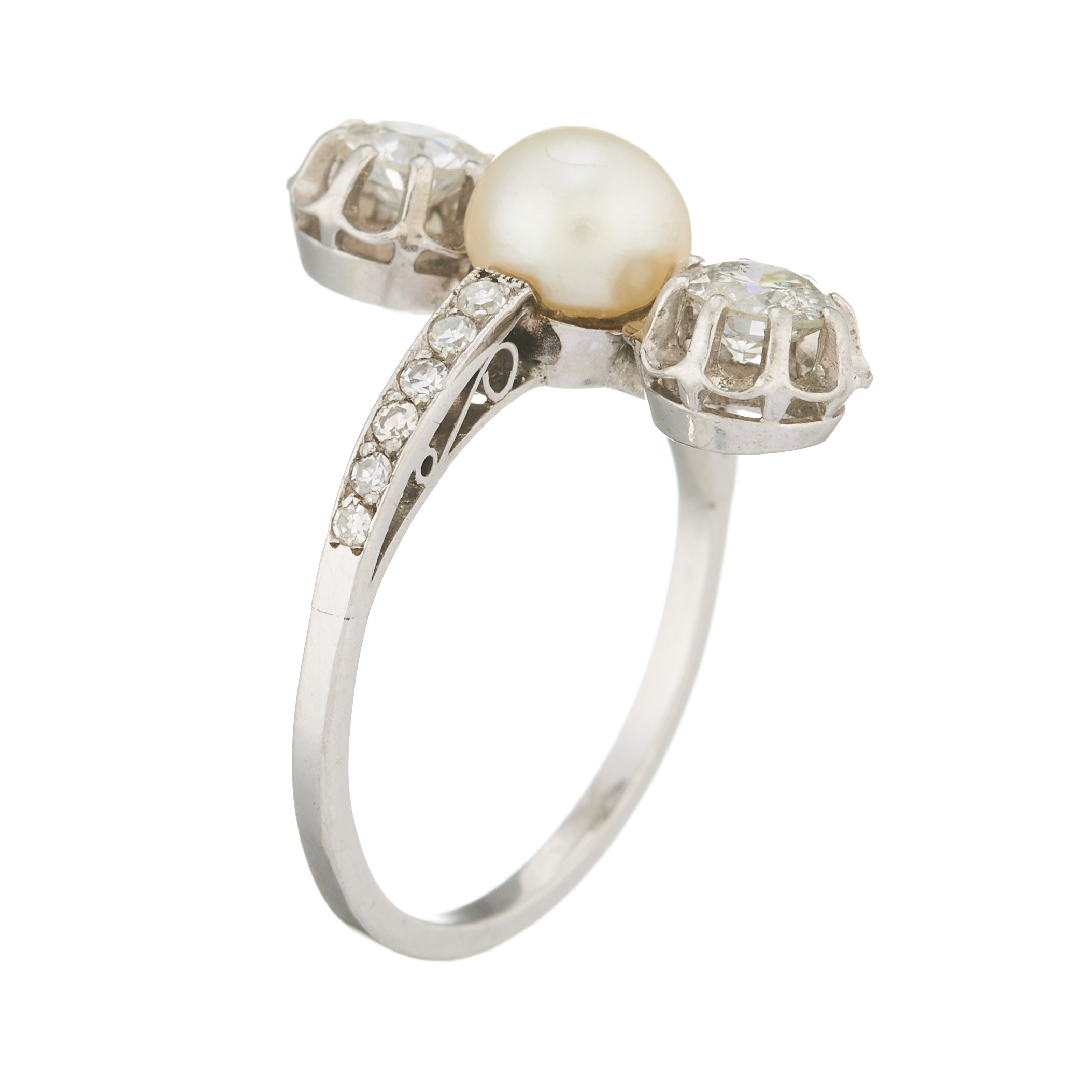 An Edwardian platinum, natural pearl and diamond three-stone dress ring - Image 2 of 2