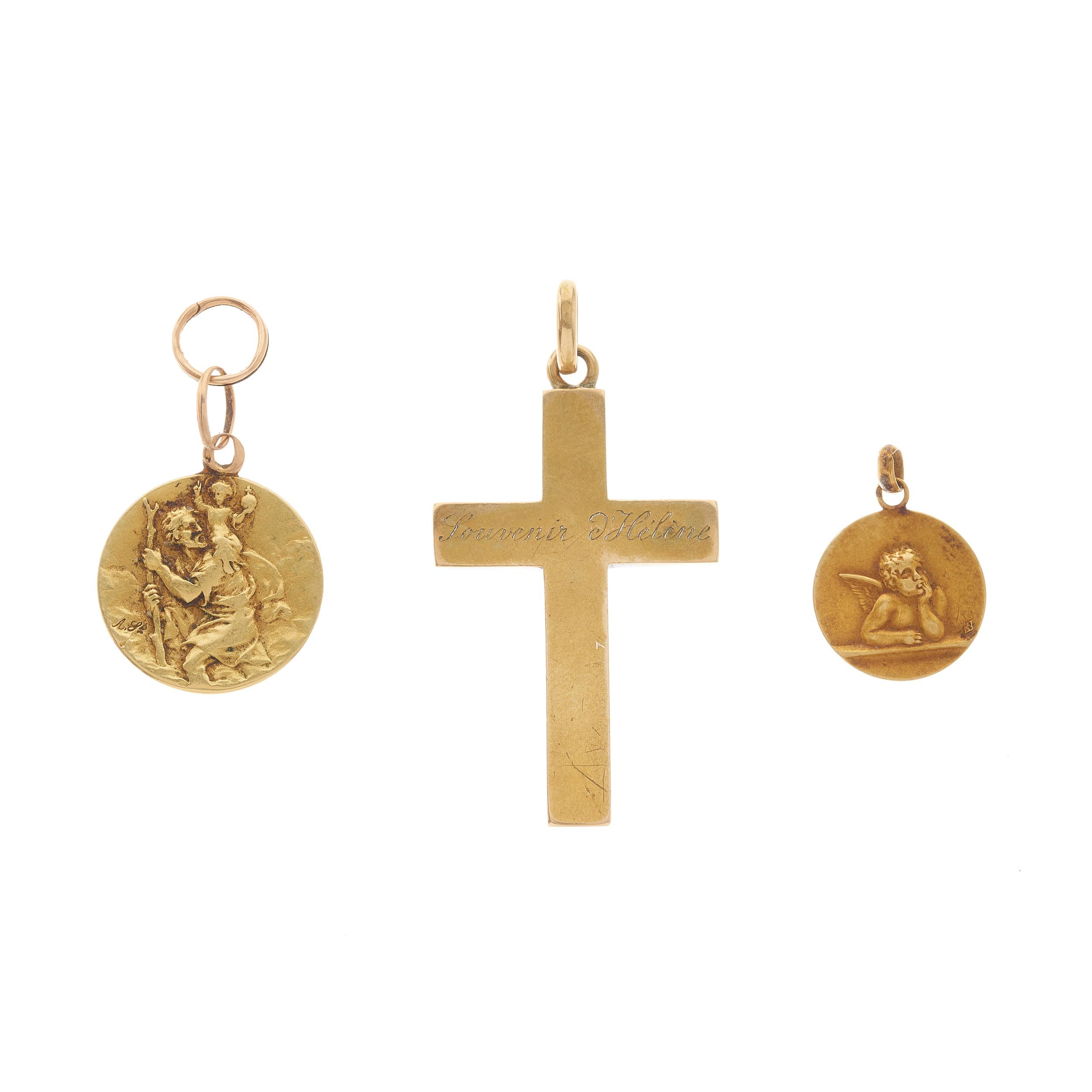Three early 20th century gold pendants