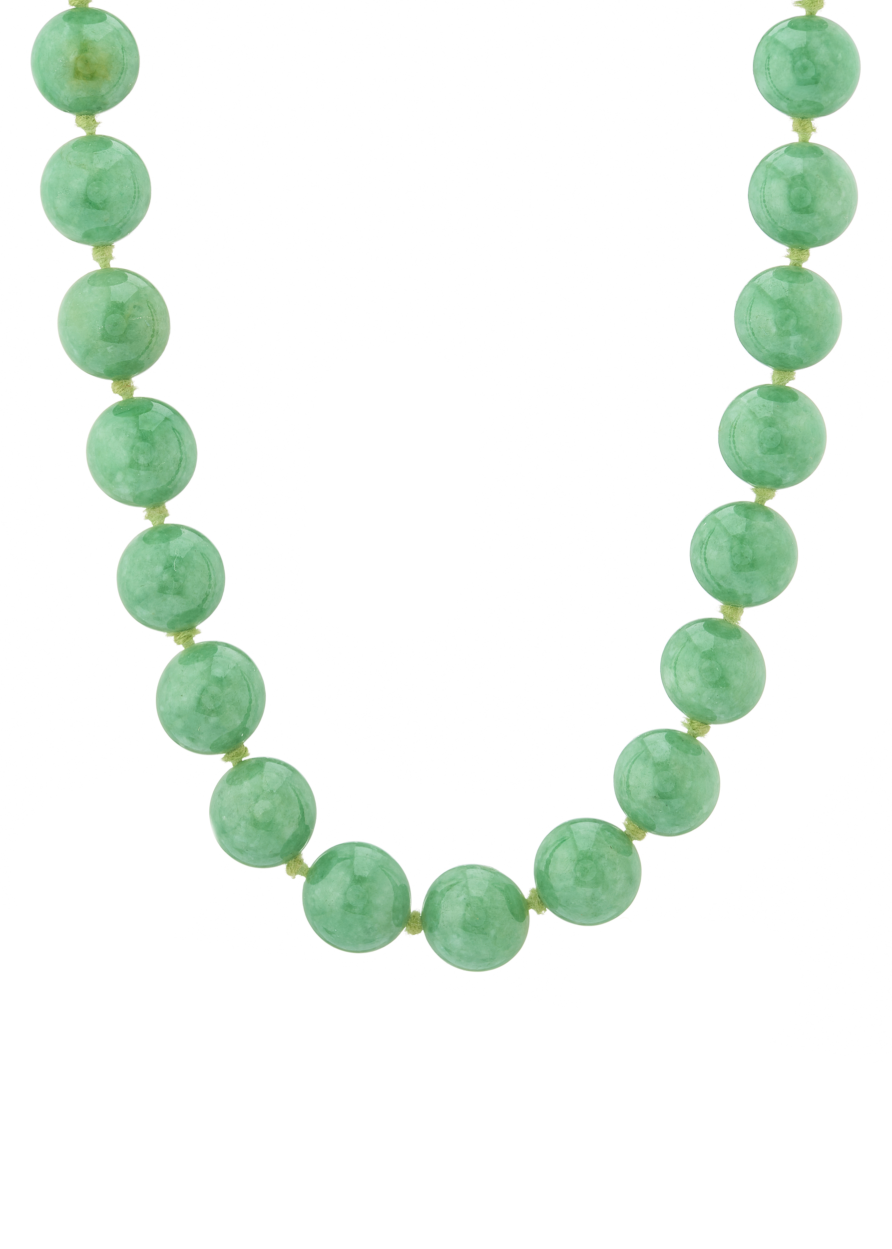 A natural jadeite jade bead necklace, with report