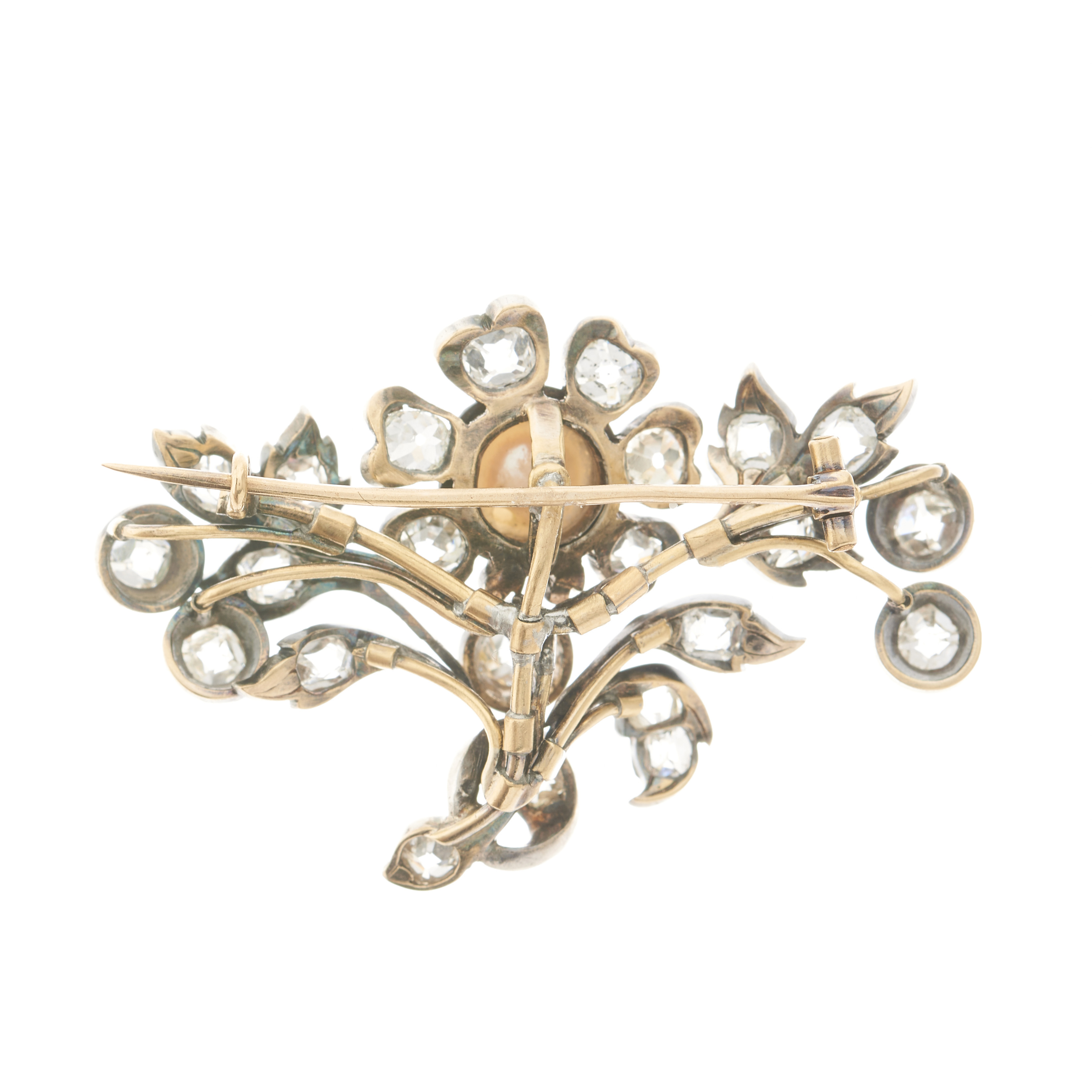 A 19th century French silver and gold, pearl and old-cut diamond floral brooch - Image 2 of 3