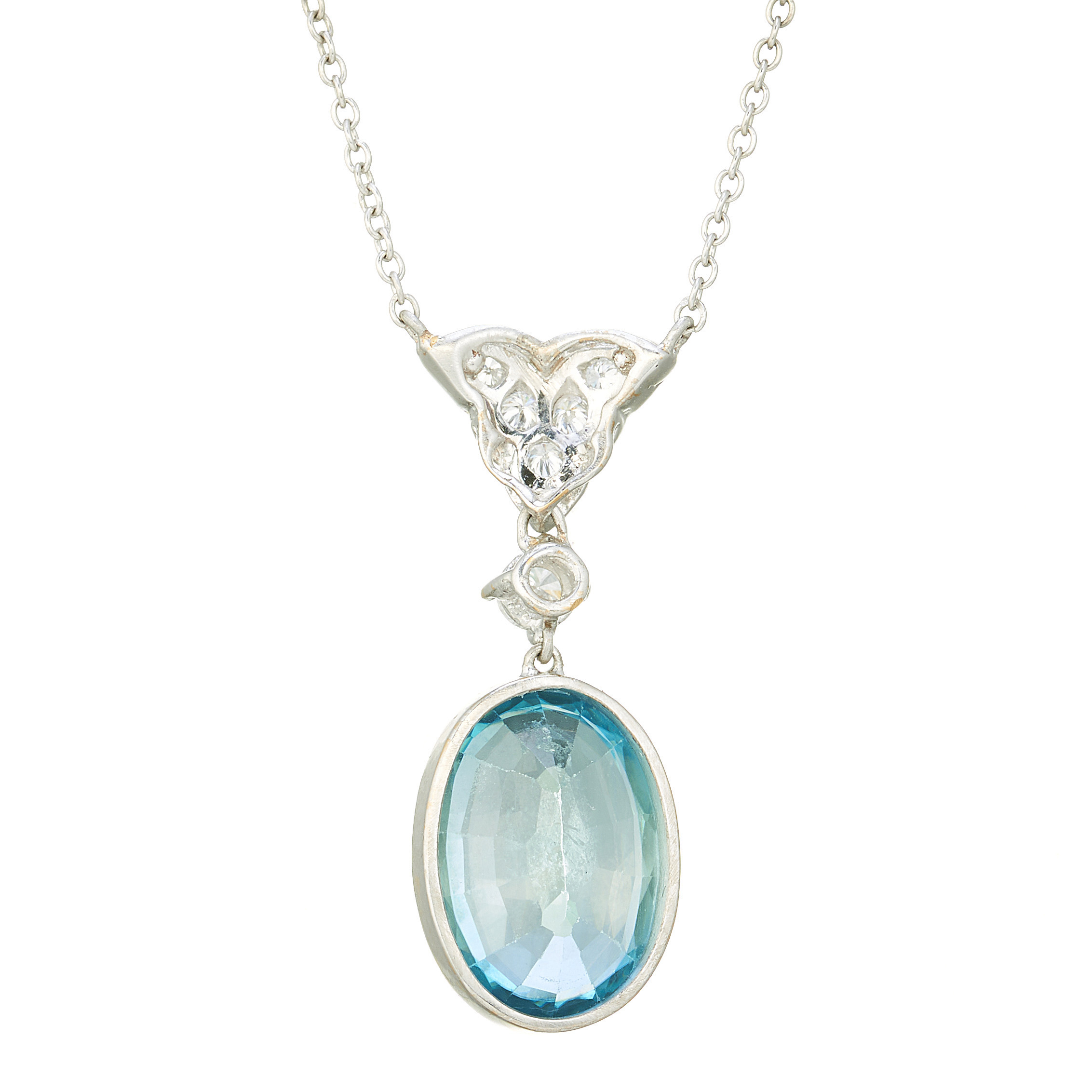 A platinum blue zircon and diamond necklace - Image 2 of 3