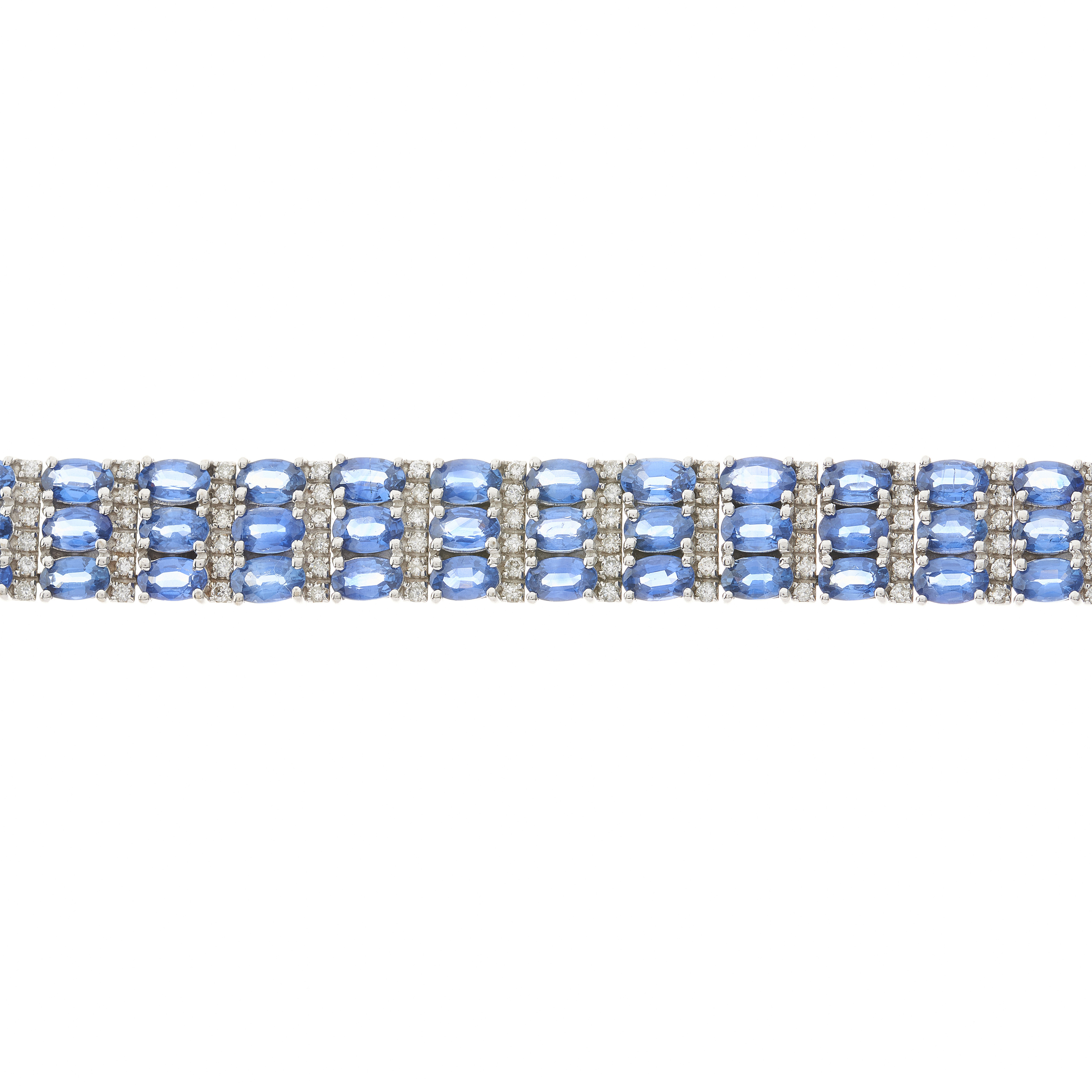 A 14ct gold sapphire and diamond three-row bracelet