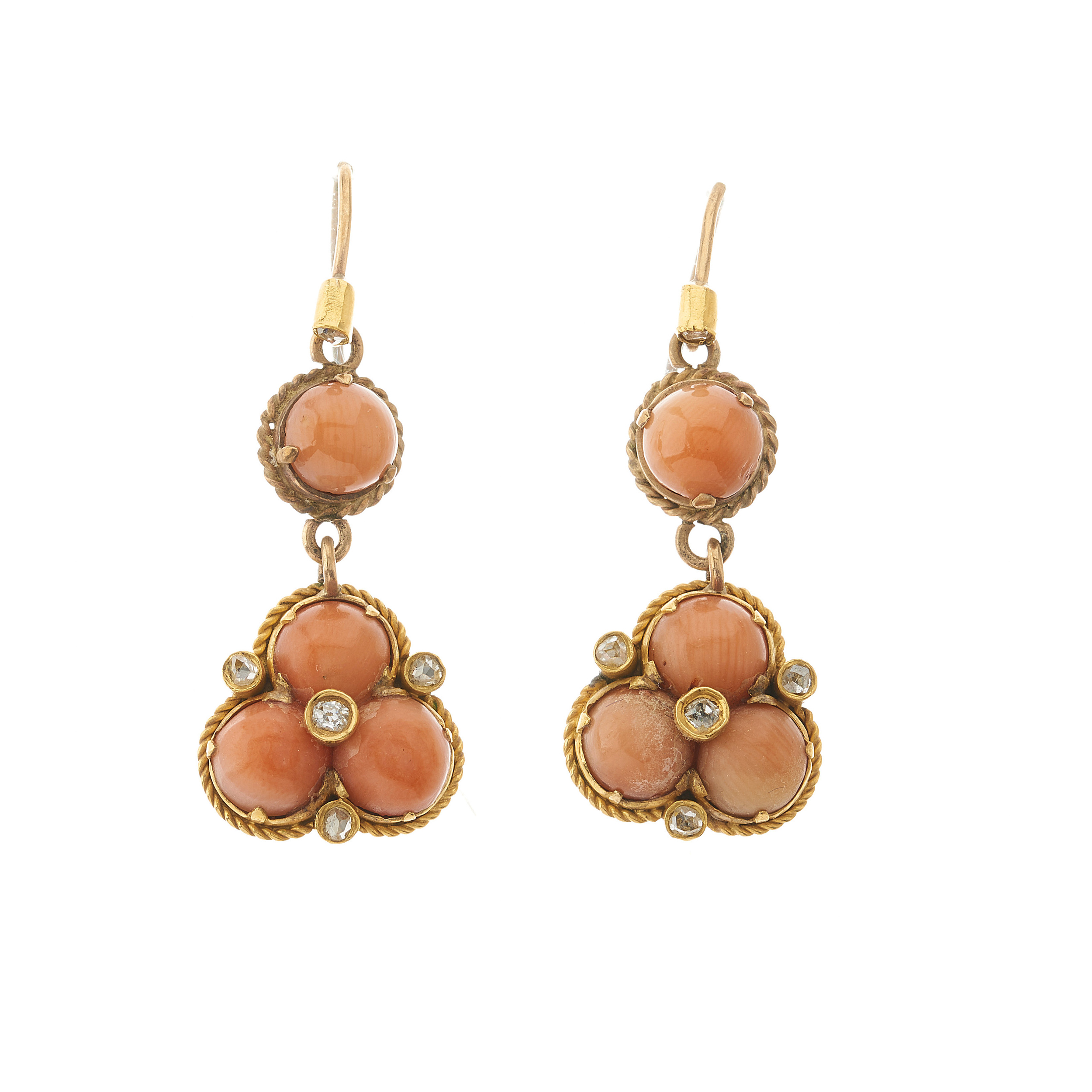 A pair of late 19th century gold, coral and diamond drop earrings