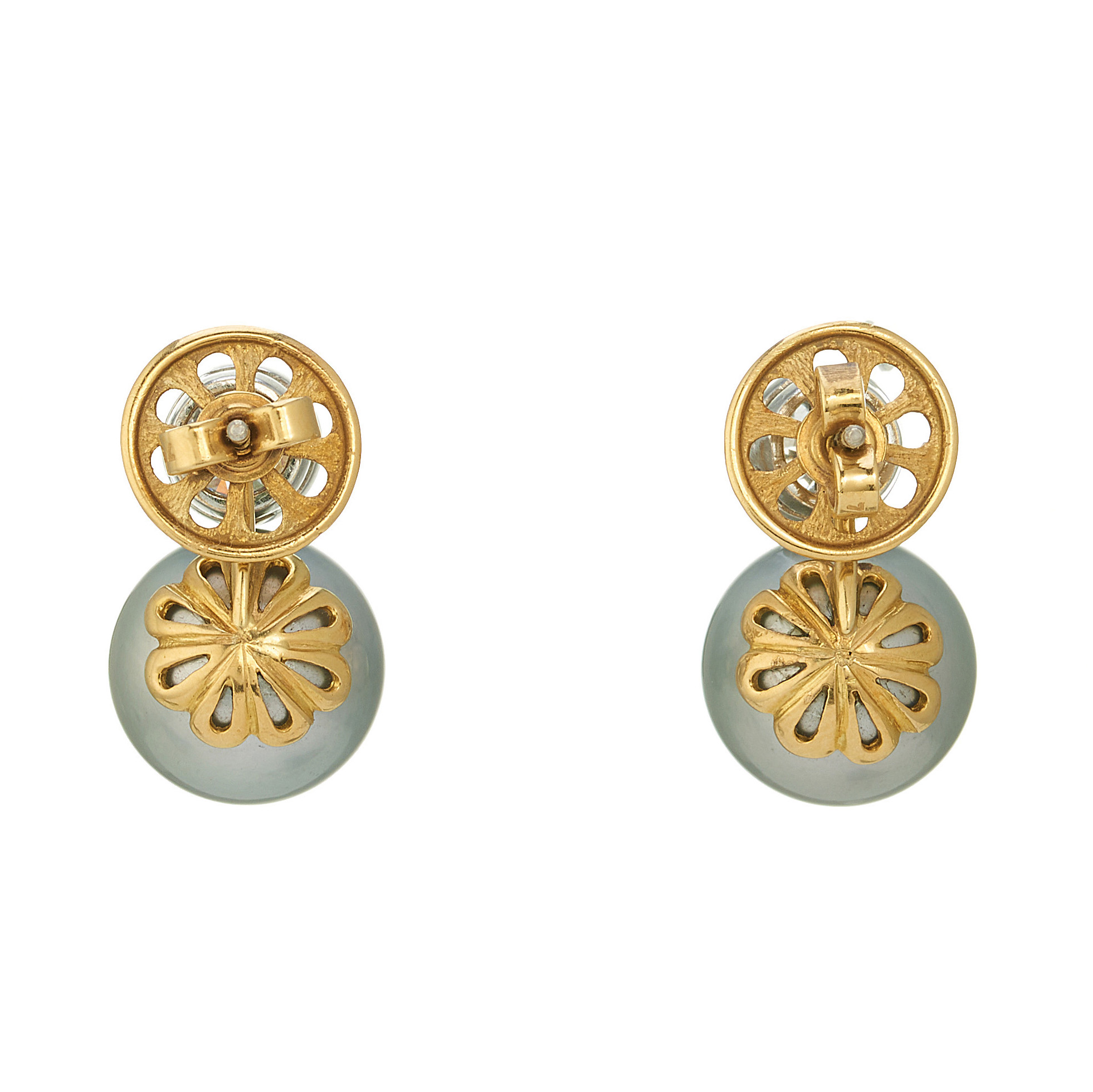 A pair of diamond and South Sea cultured pearl earrings - Image 2 of 2