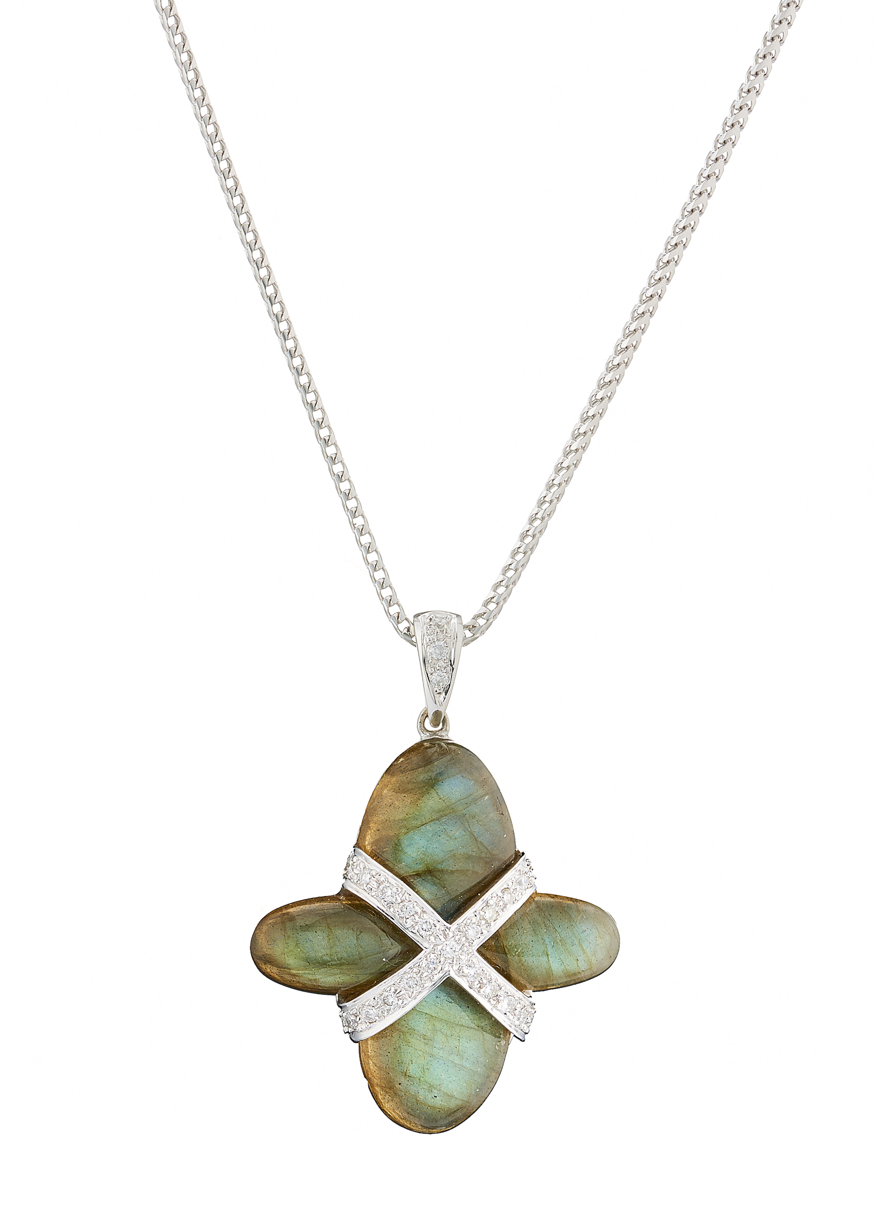 An 18ct gold labradorite and diamond cross necklace