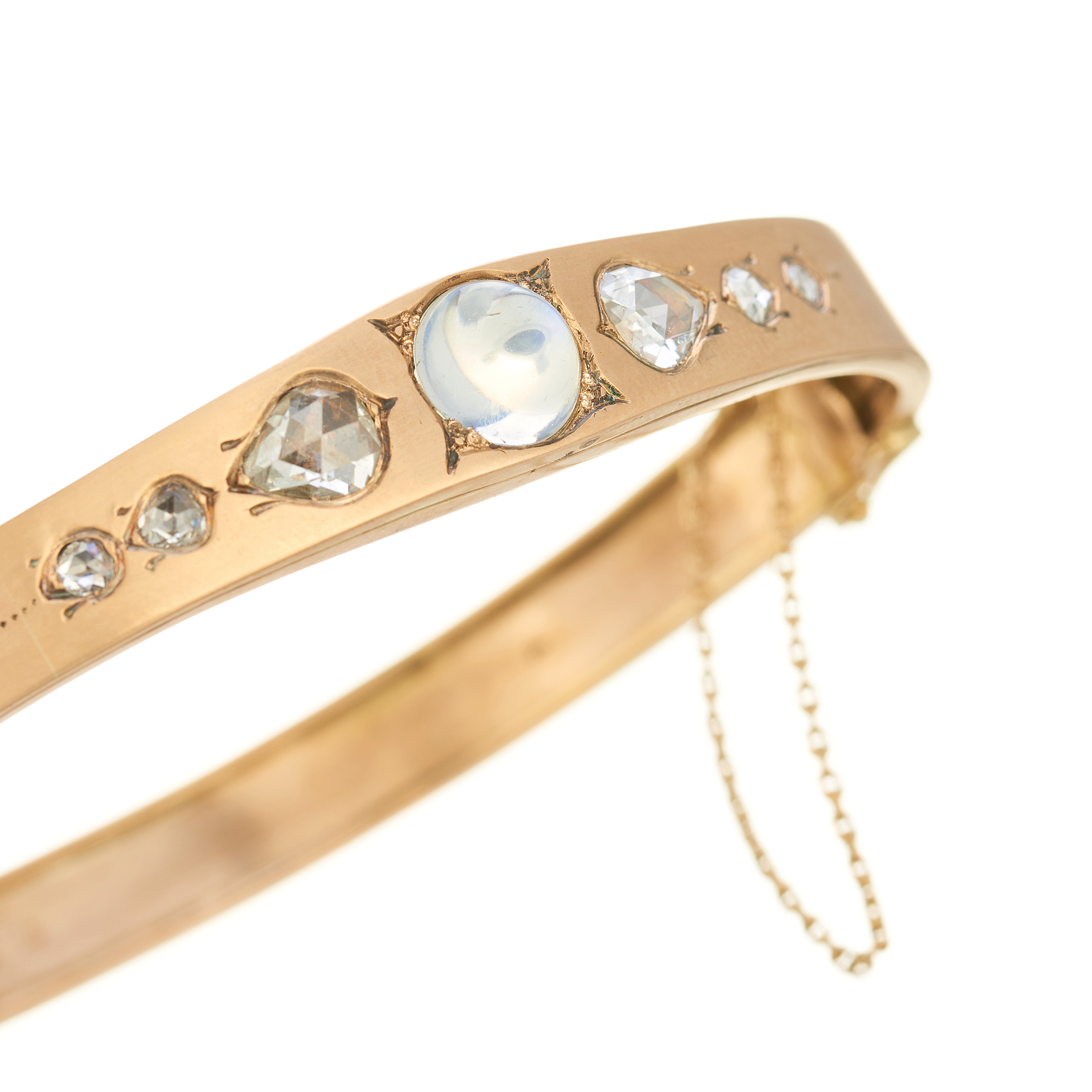 A late 19th century 14ct gold moonstone and diamond hinged bangle - Image 2 of 2