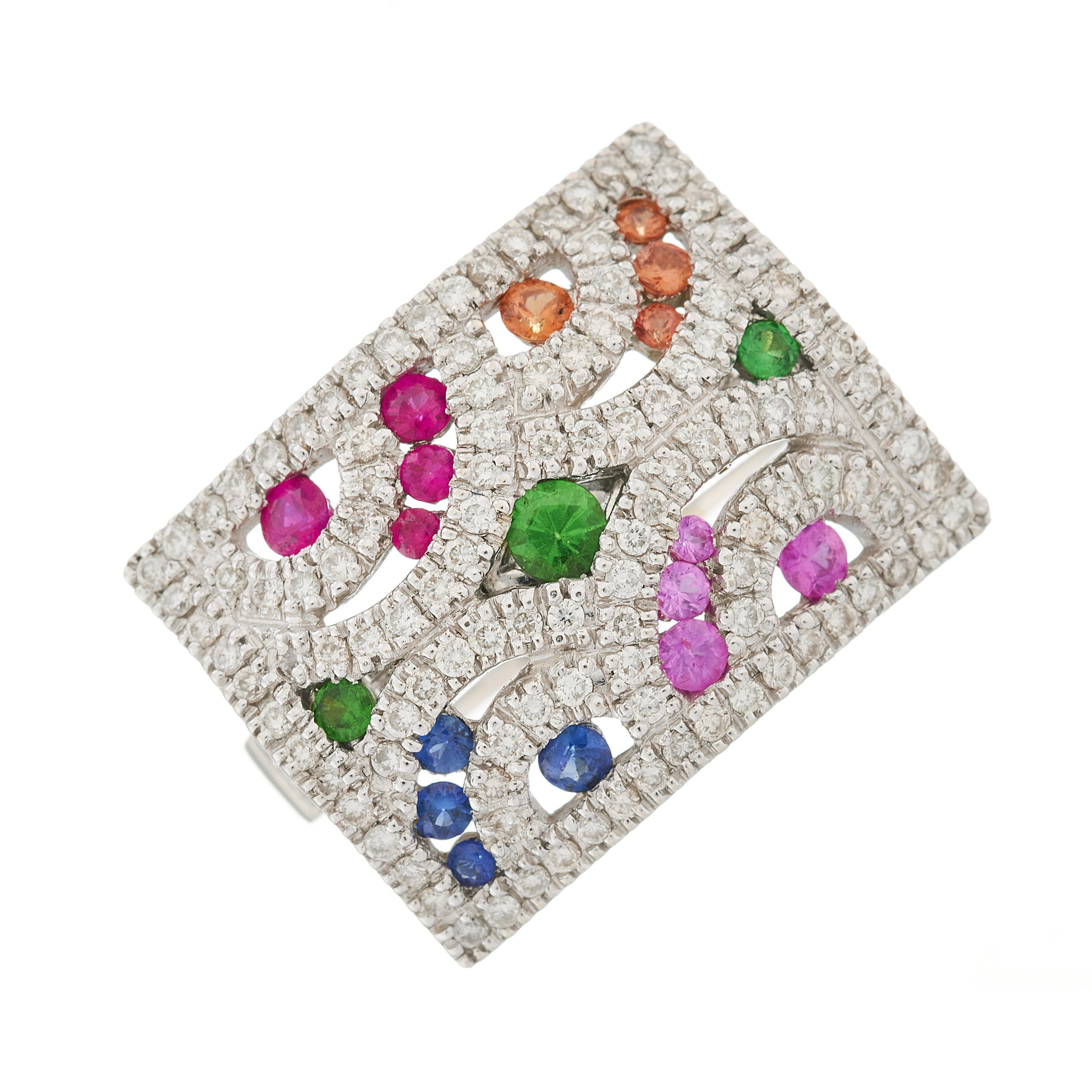 A 14ct gold diamond and multi-gem dress ring