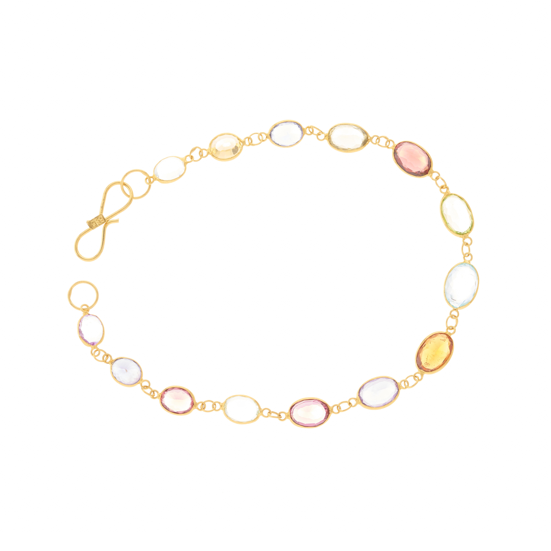 A 14ct gold harlequin multi-gem line bracelet - Image 2 of 2