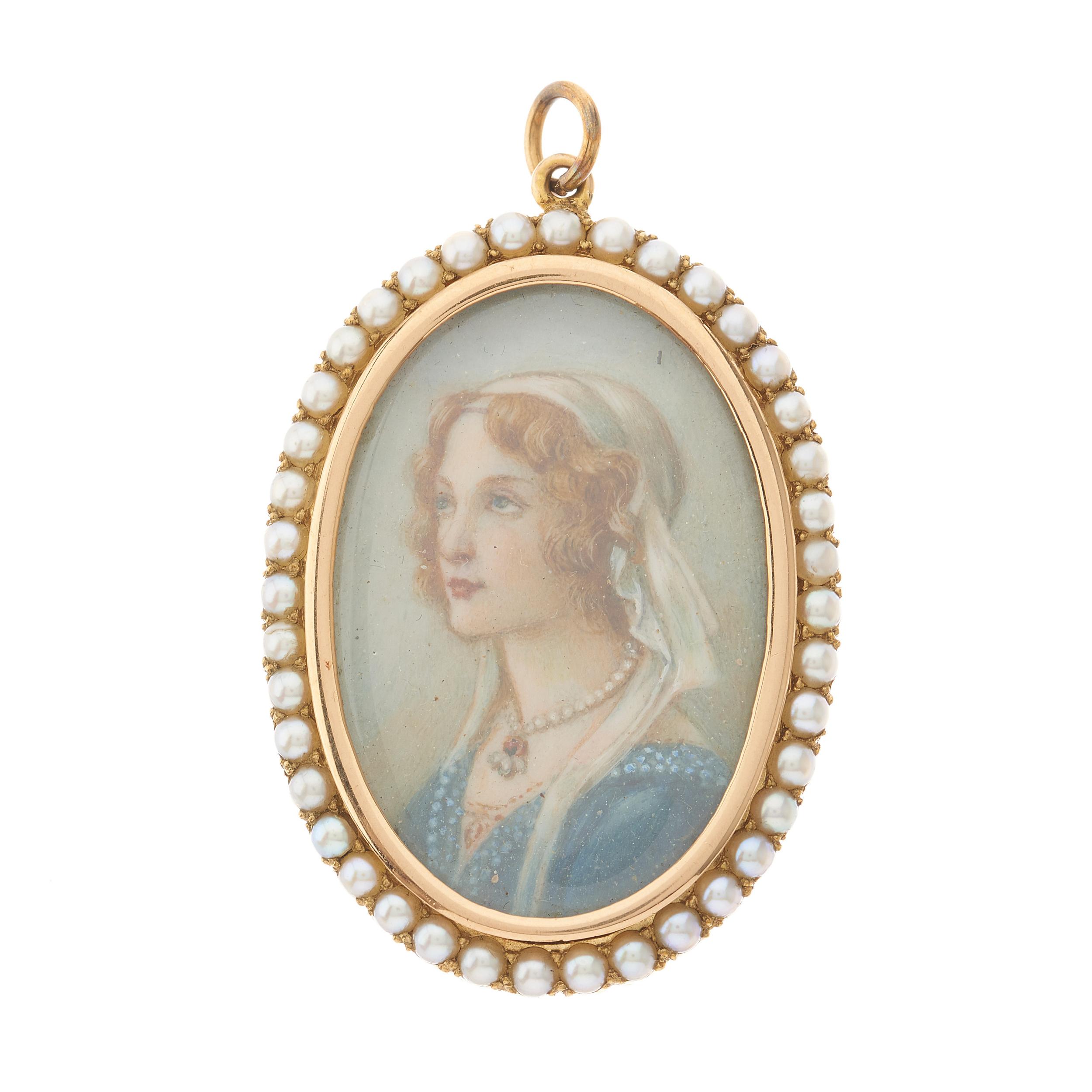 An early 20th century 15ct gold split pearl portrait pendant