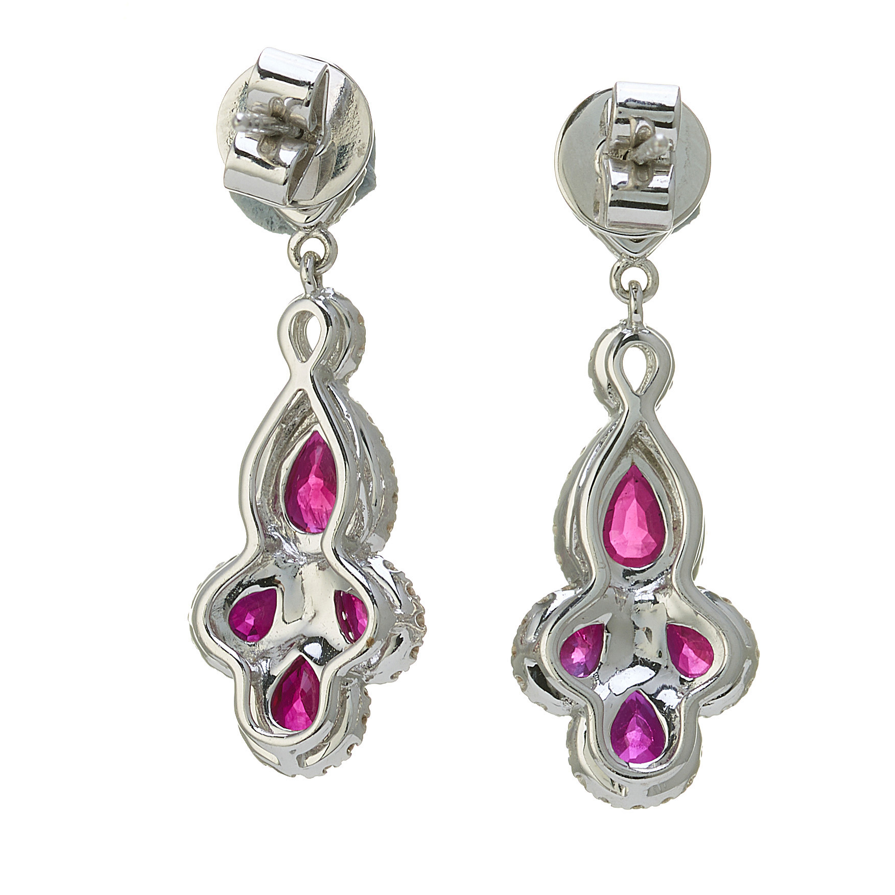 A pair of 18ct gold ruby and diamond cluster drop earrings - Image 2 of 2